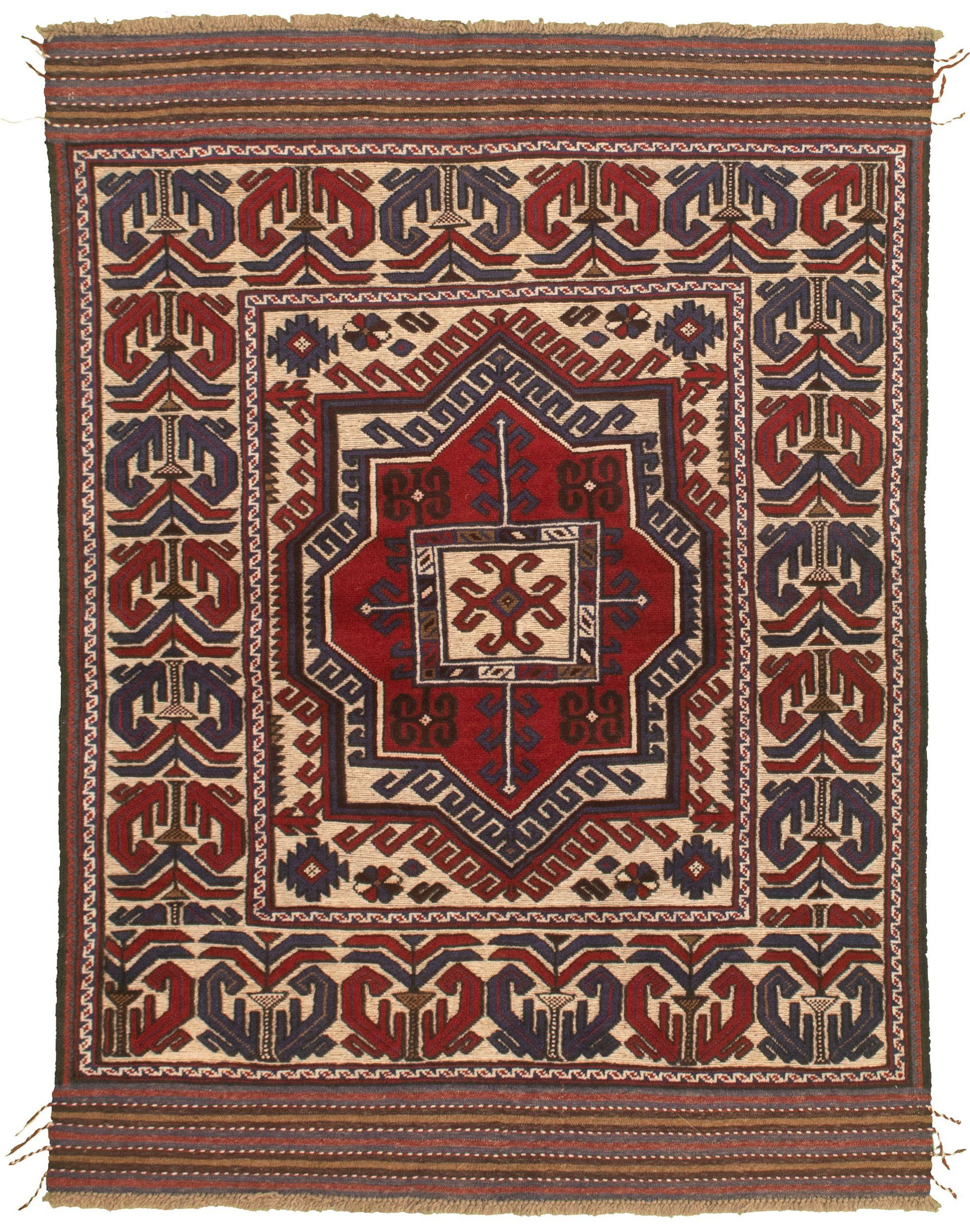 """Hand-knotted Tajik Caucasian Dark Blue, Red Wool Rug 4'2"""" x 6'0"""" Size: 4'2"""" x 6'0"""""""
