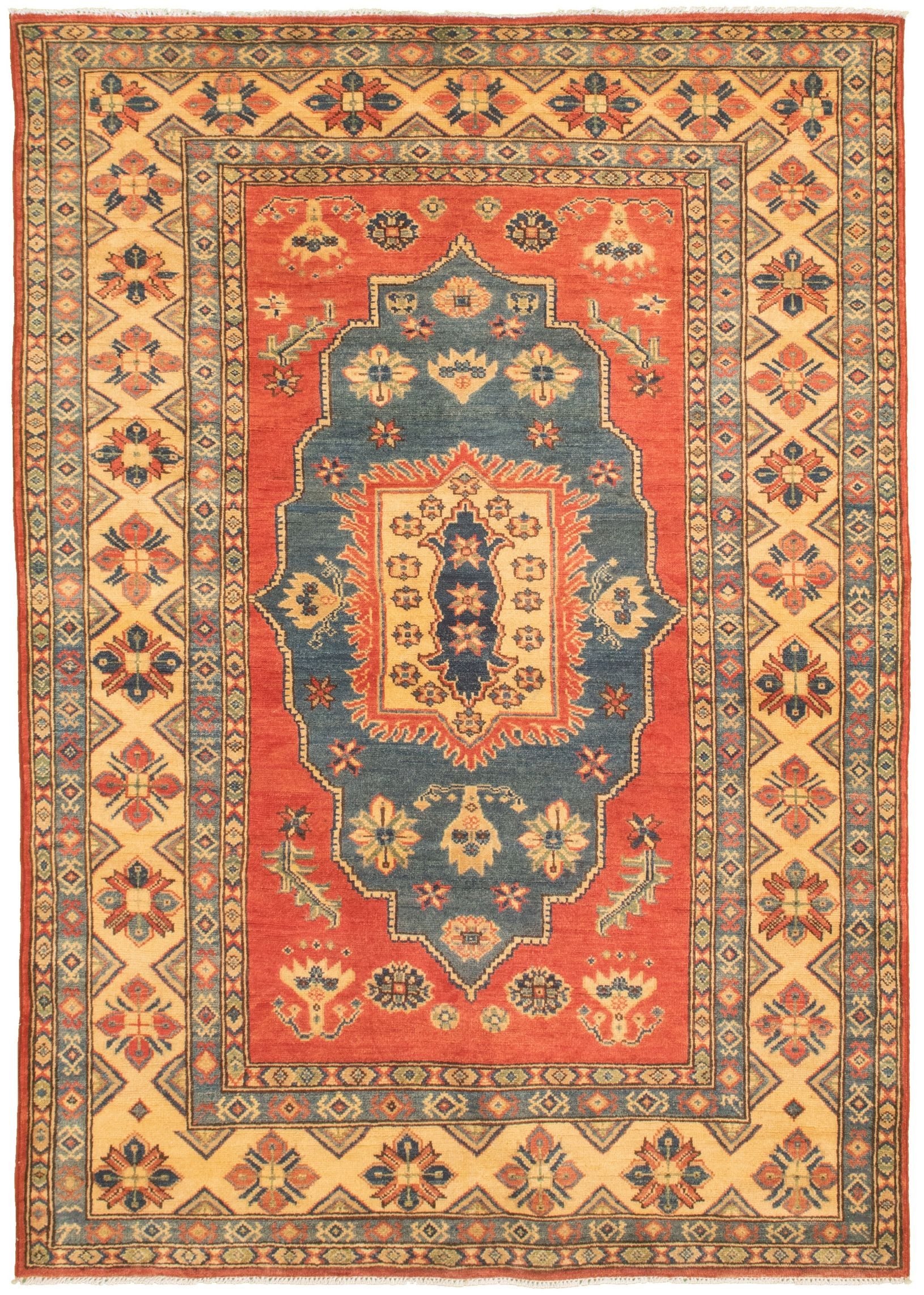 """Hand-knotted Finest Gazni Red  Rug 5'3"""" x 7'7"""" Size: 5'3"""" x 7'7"""""""
