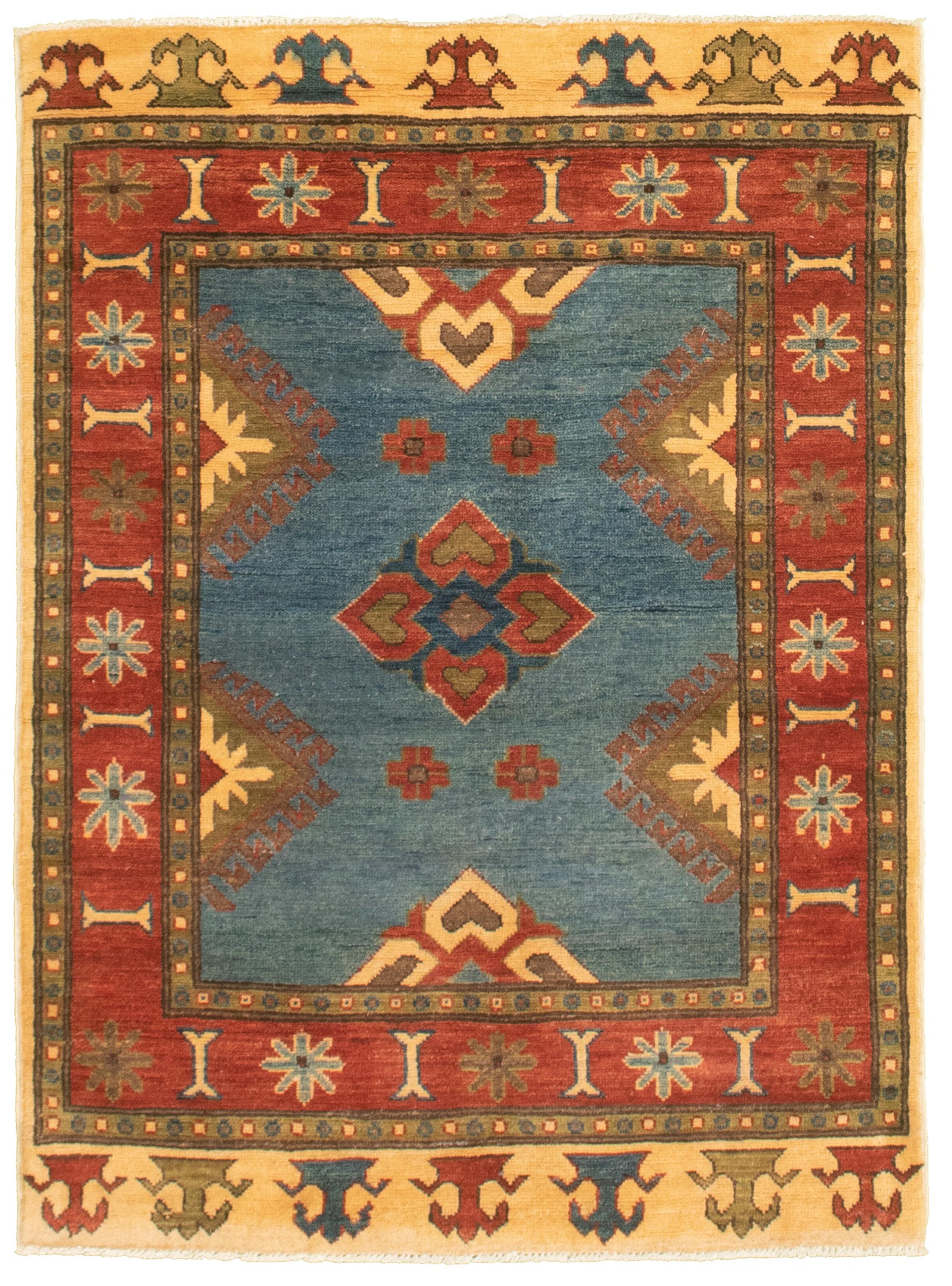 "Hand-knotted Finest Gazni Blue, Dark Red  Rug 3'4"" x 4'9"" Size: 3'4"" x 4'9"""