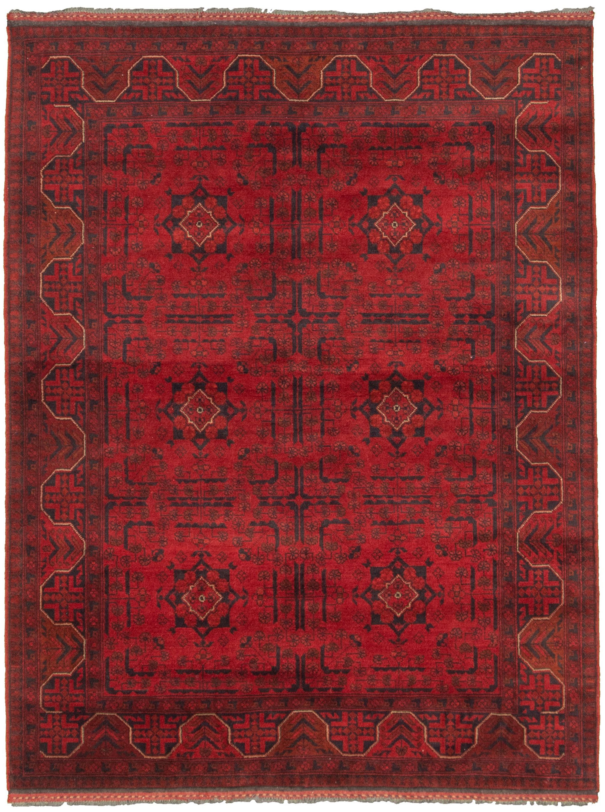 """Hand-knotted Finest Khal Mohammadi Red  Rug 4'11"""" x 6'7""""  Size: 4'11"""" x 6'7"""""""