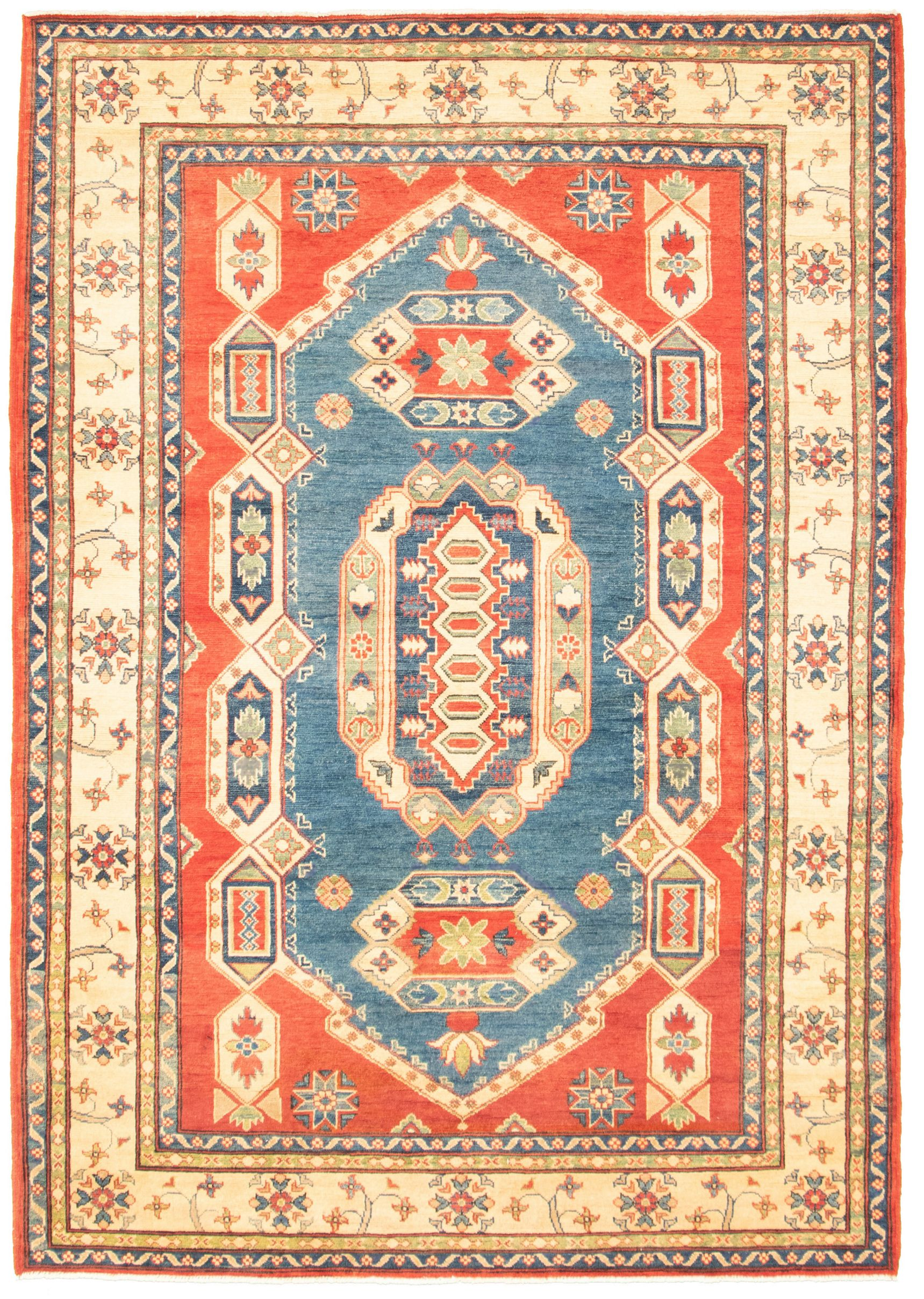 """Hand-knotted Finest Gazni Blue, Red  Rug 6'2"""" x 9'0"""" Size: 6'2"""" x 9'0"""""""