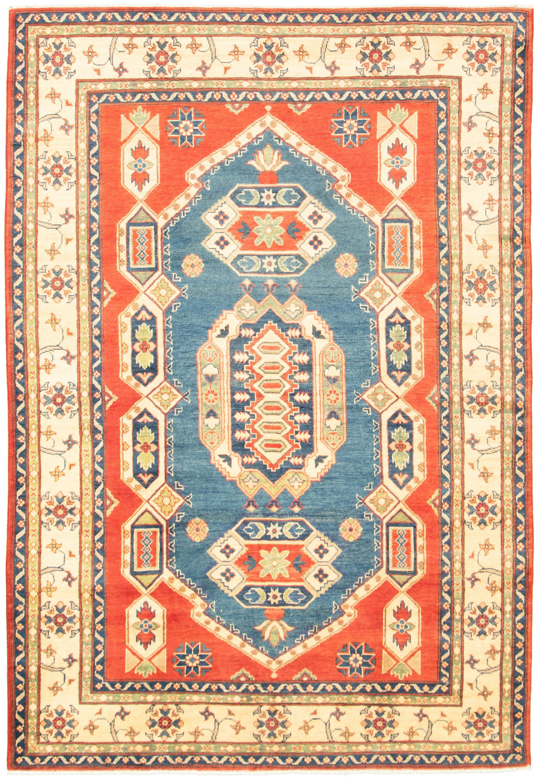 """Hand-knotted Finest Gazni Blue, Red  Rug 6'2"""" x 8'10"""" Size: 6'2"""" x 8'10"""""""