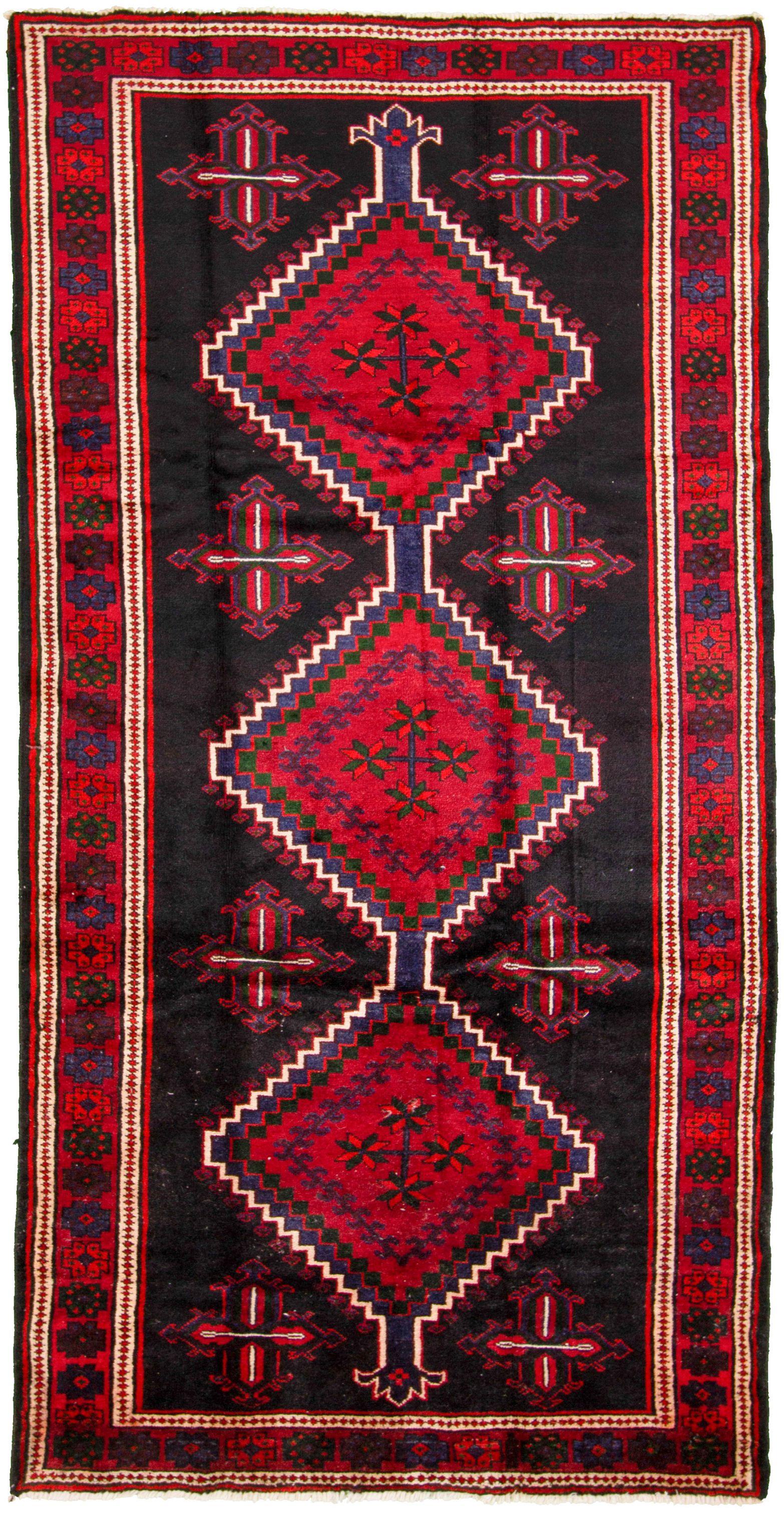 "Hand-knotted Hamadan  Wool Rug 4'11"" x 9'9"" Size: 4'11"" x 9'9"""