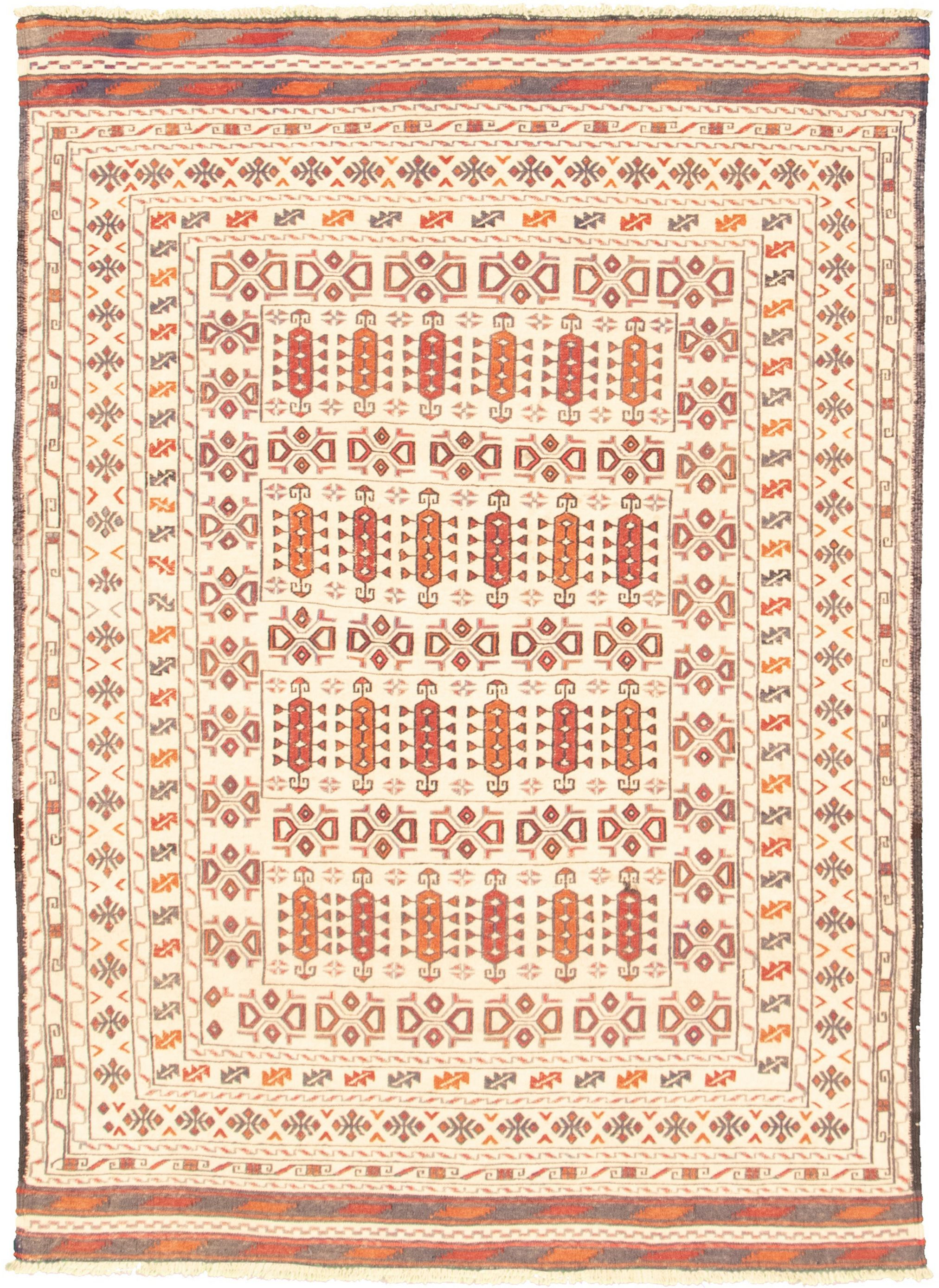 "Hand woven Shiravan SMK Ivory Wool Tapestry Kilim 4'3"" x 6'0"" Size: 4'3"" x 6'0"""