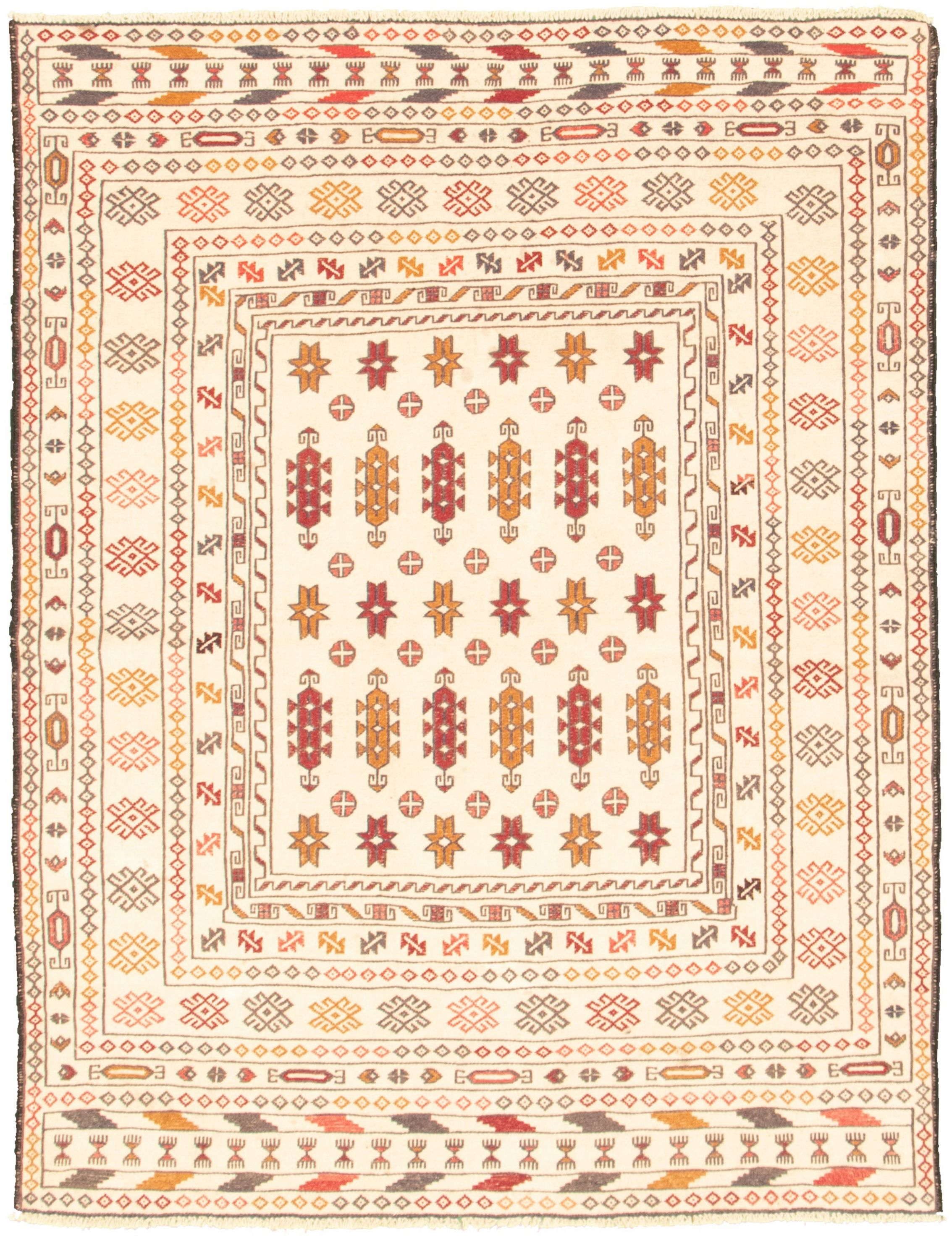 "Hand woven Shiravan SMK Ivory Wool Tapestry Kilim 4'5"" x 5'11"" Size: 4'5"" x 5'11"""