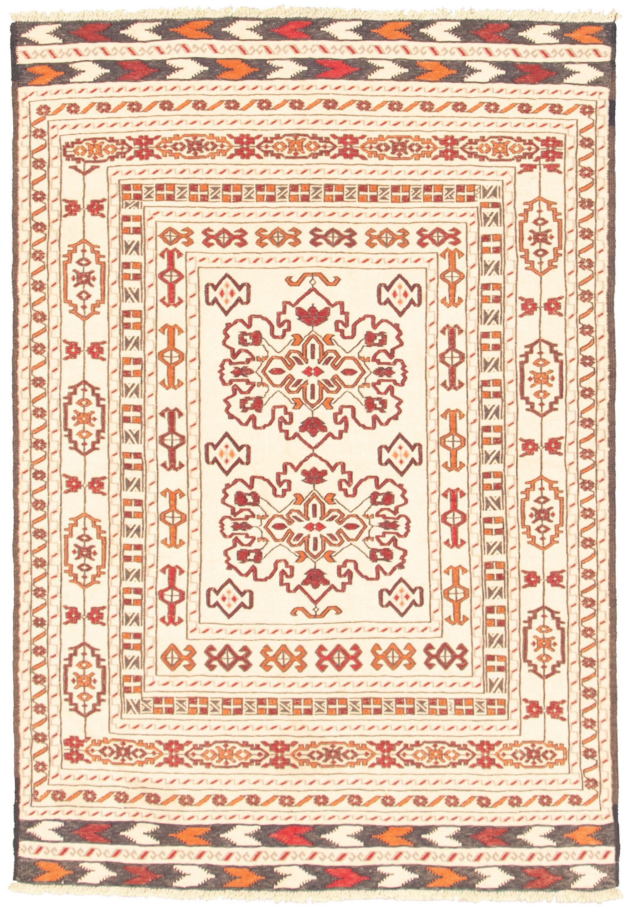 "Hand woven Shiravan SMK Ivory Wool Tapestry Kilim 4'3"" x 6'5"" Size: 4'3"" x 6'5"""