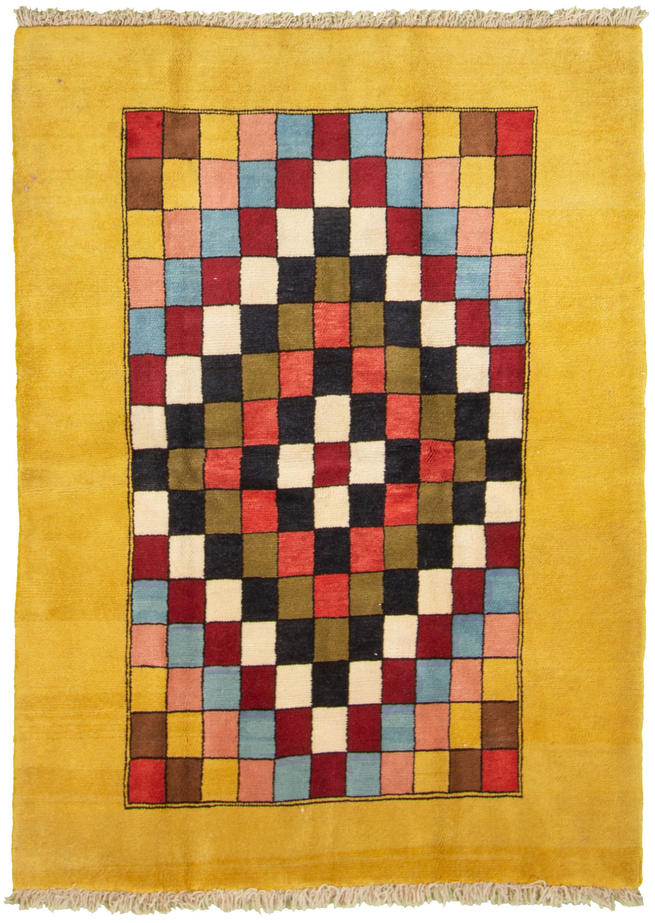 """Hand-knotted Persian Gabbeh  Wool Rug 4'5"""" x 6'1"""" Size: 4'5"""" x 6'1"""""""