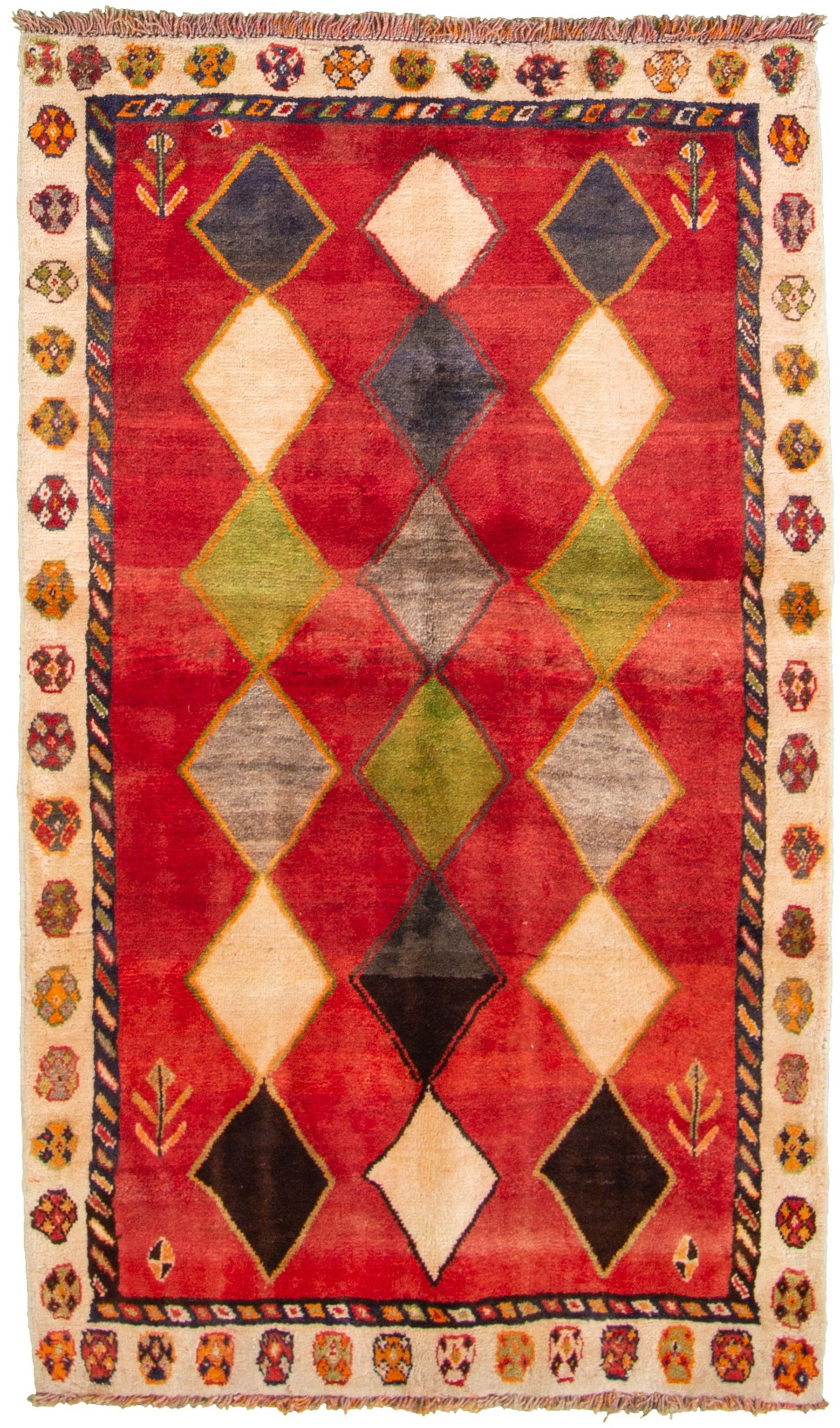 """Hand-knotted Persian Gabbeh  Wool Rug 3'3"""" x 5'8""""  Size: 3'3"""" x 5'8"""""""