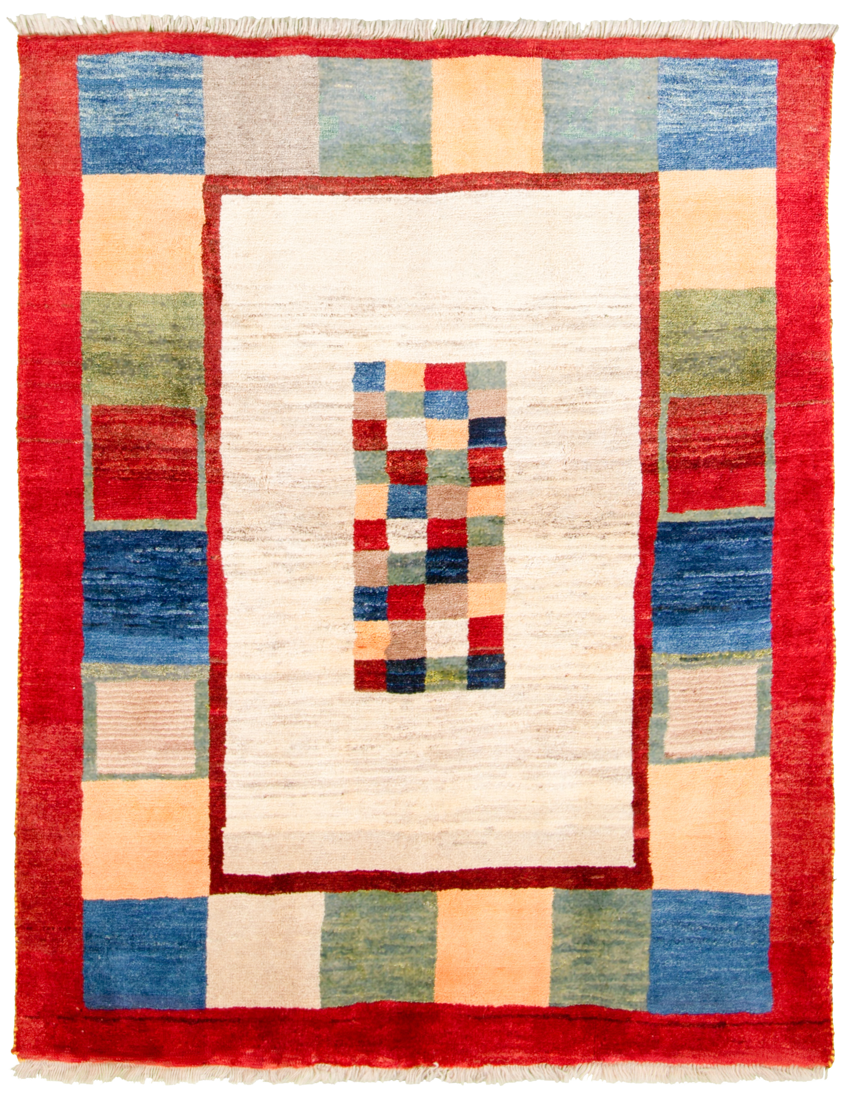 """Hand-knotted Persian Gabbeh  Wool Rug 4'10"""" x 5'11"""" Size: 4'10"""" x 5'11"""""""