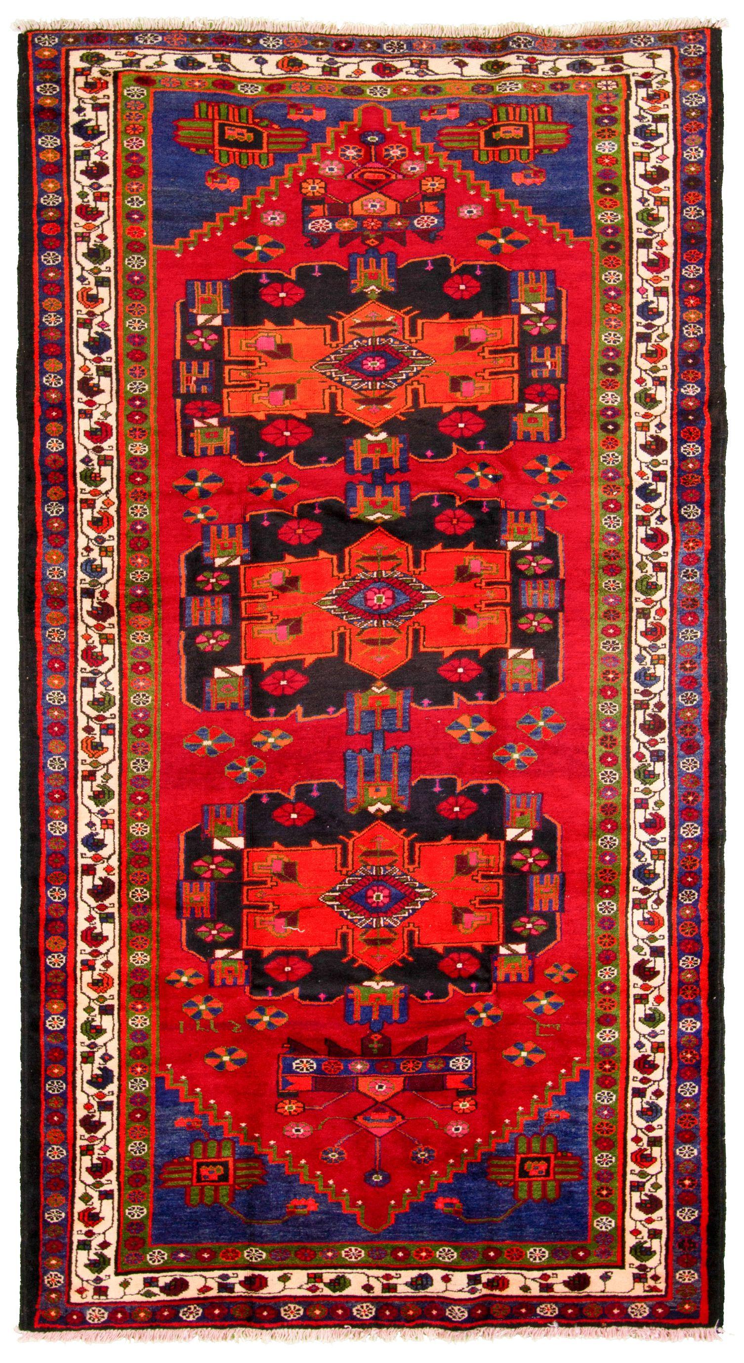 "Hand-knotted Hamadan  Wool Rug 5'1"" x 9'4"" Size: 5'1"" x 9'4"""