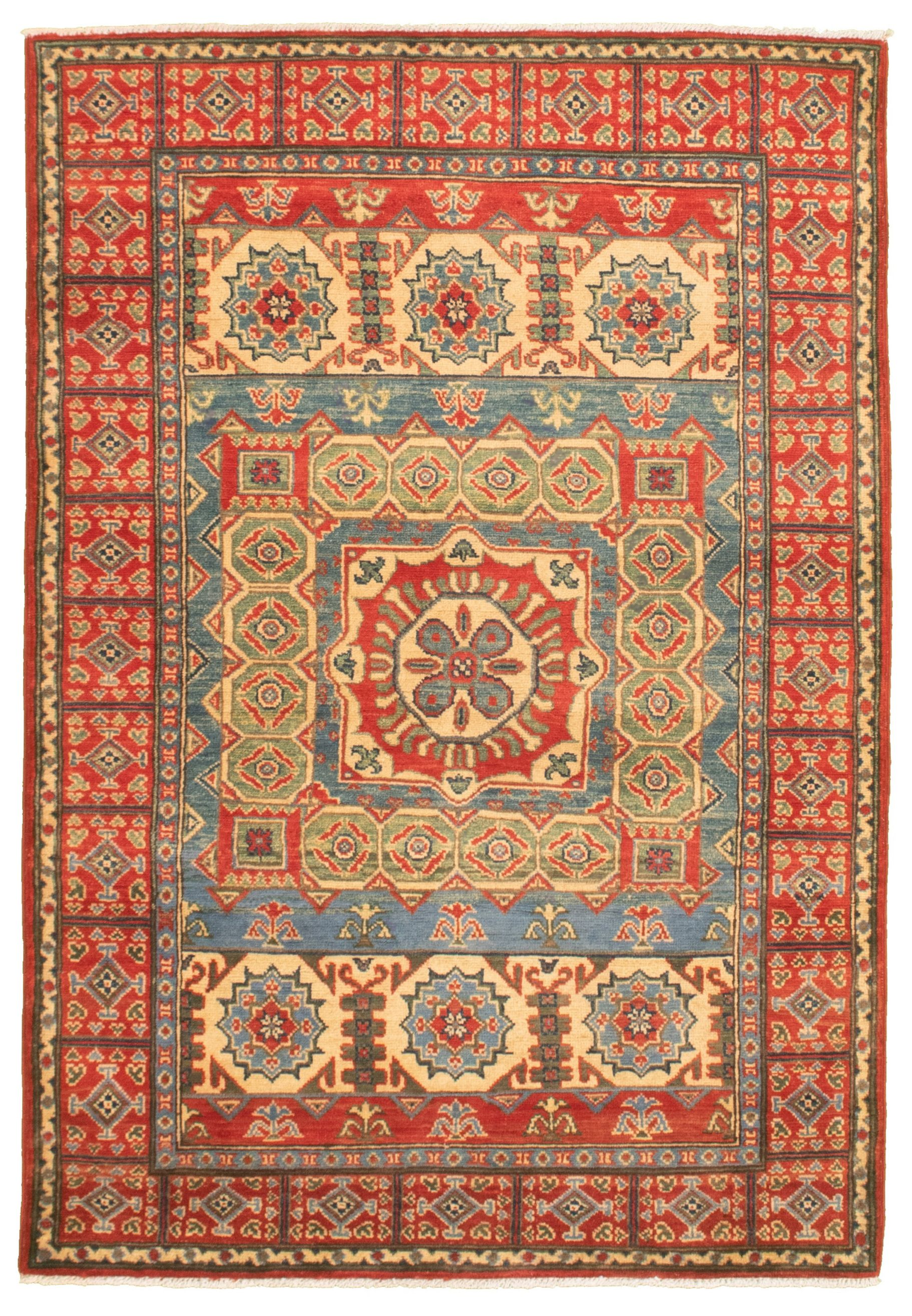 """Hand-knotted Finest Gazni Red, Sky Blue  Rug 4'0"""" x 6'1"""" Size: 4'0"""" x 6'1"""""""