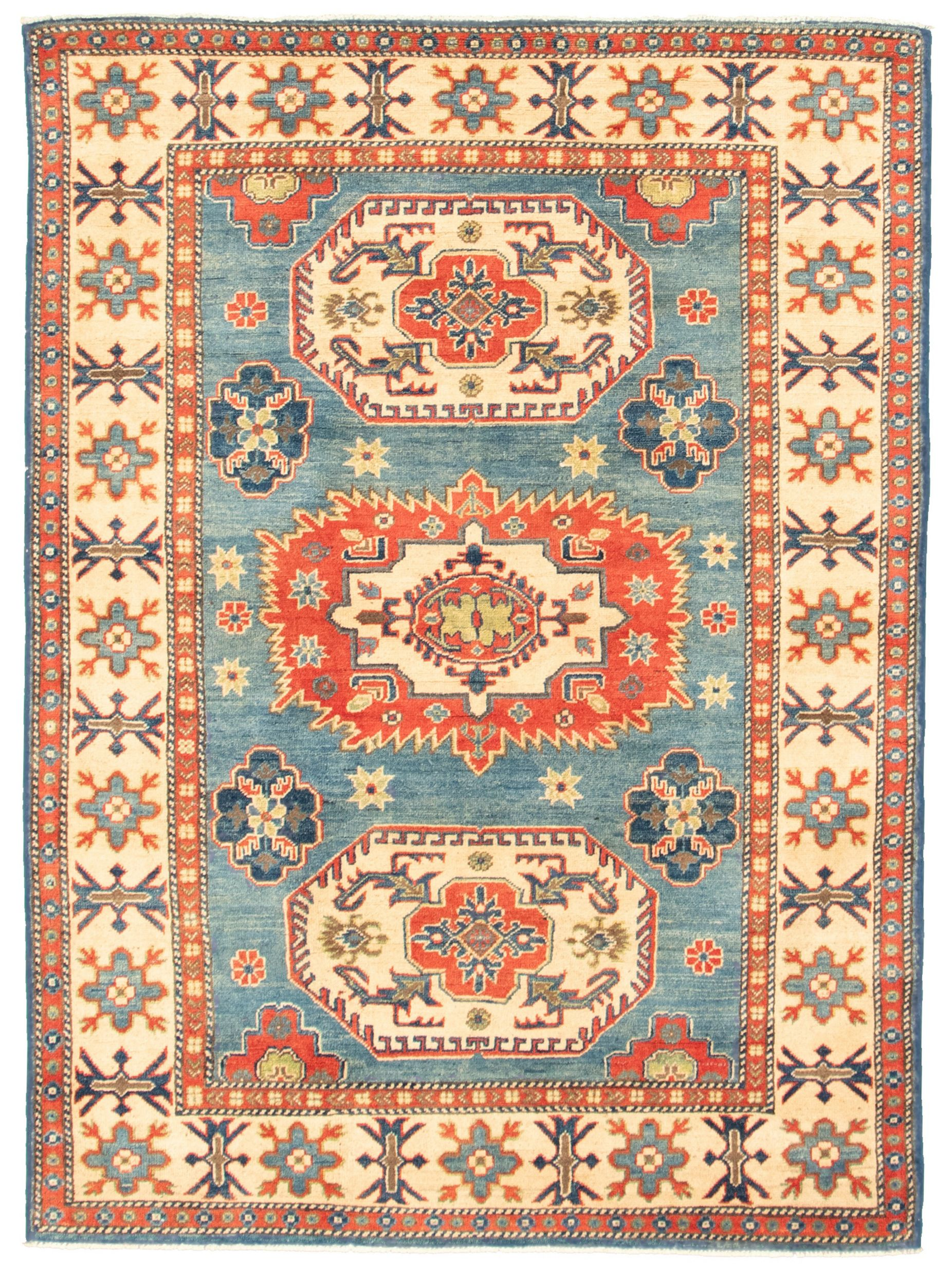 """Hand-knotted Finest Gazni Blue  Rug 4'11"""" x 6'8"""" Size: 4'11"""" x 6'8"""""""