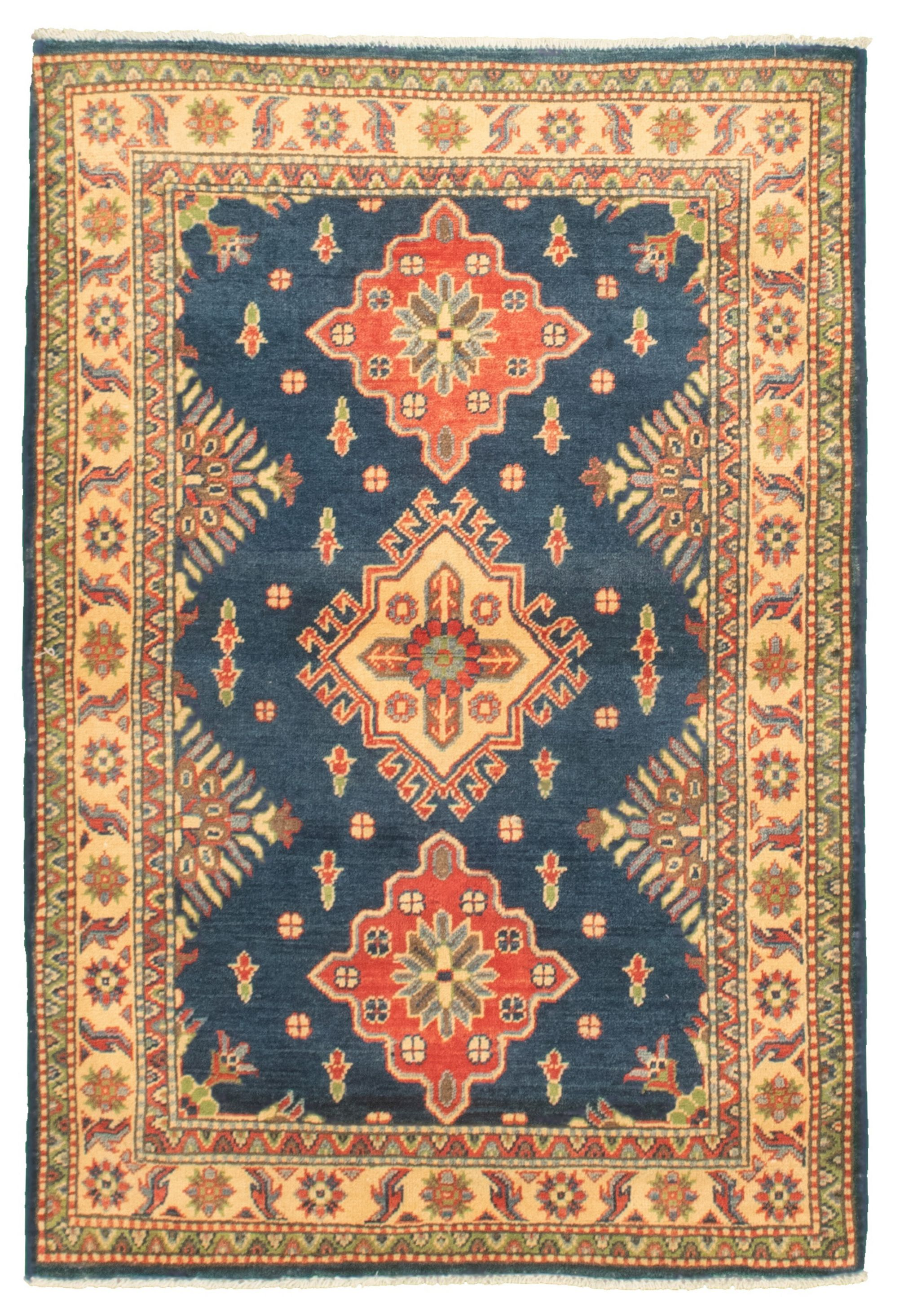 """Hand-knotted Finest Gazni Navy Blue  Rug 3'4"""" x 4'11"""" Size: 3'4"""" x 4'11"""""""