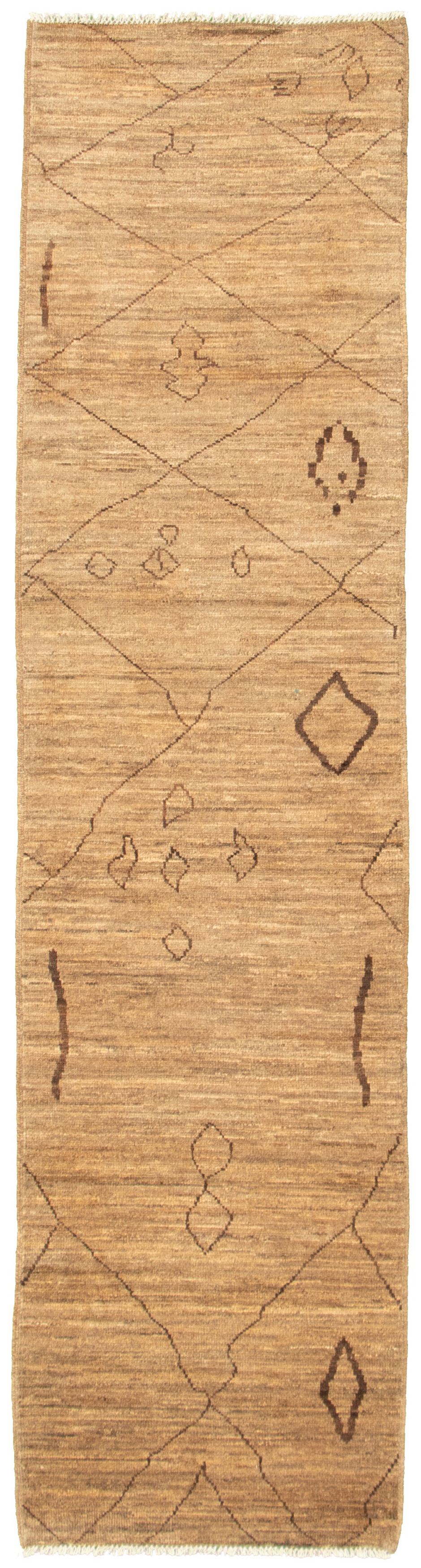 """Hand-knotted Marrakech Tan Wool Rug 2'8"""" x 11'3"""" Size: 2'8"""" x 11'3"""""""