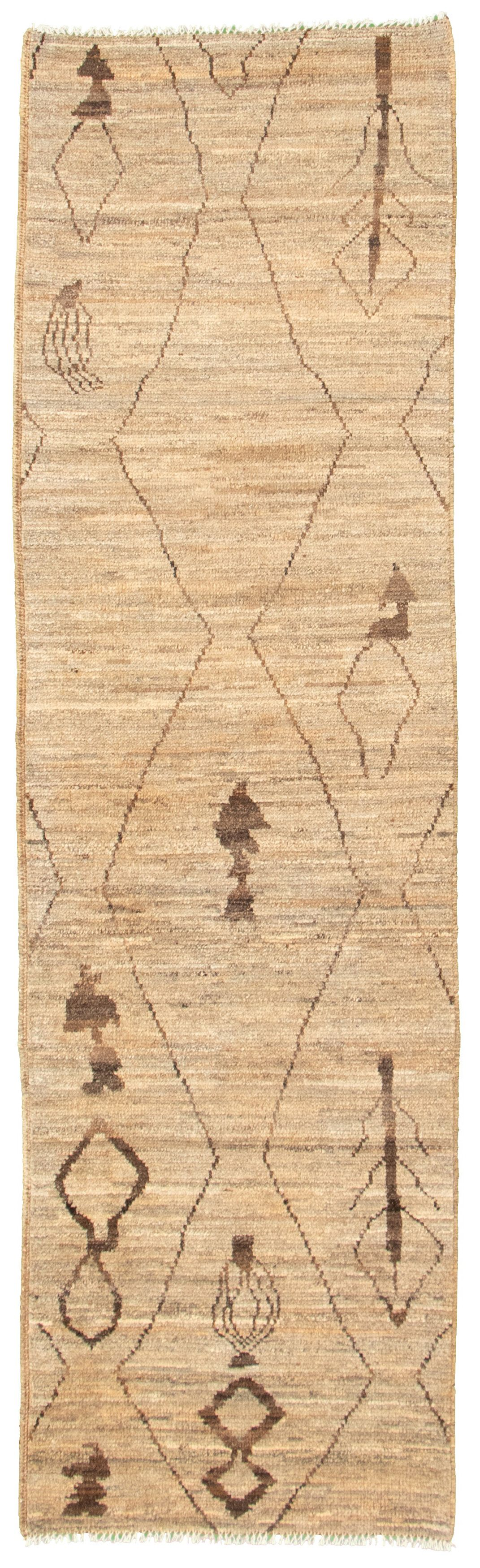 """Hand-knotted Marrakech Grey, Tan Wool Rug 2'10"""" x 9'8"""" Size: 2'10"""" x 9'8"""""""