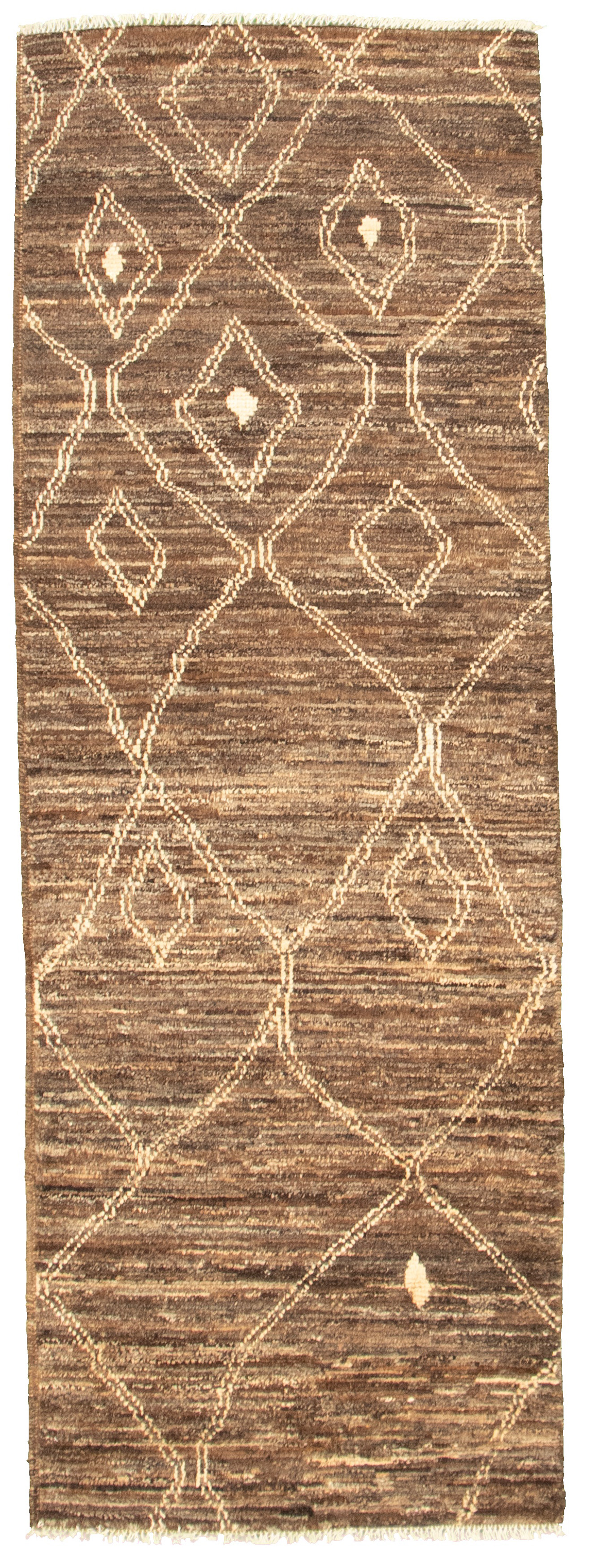 "Hand-knotted Marrakech Dark Brown Wool Rug 2'7"" x 7'8"" Size: 2'7"" x 7'8"""