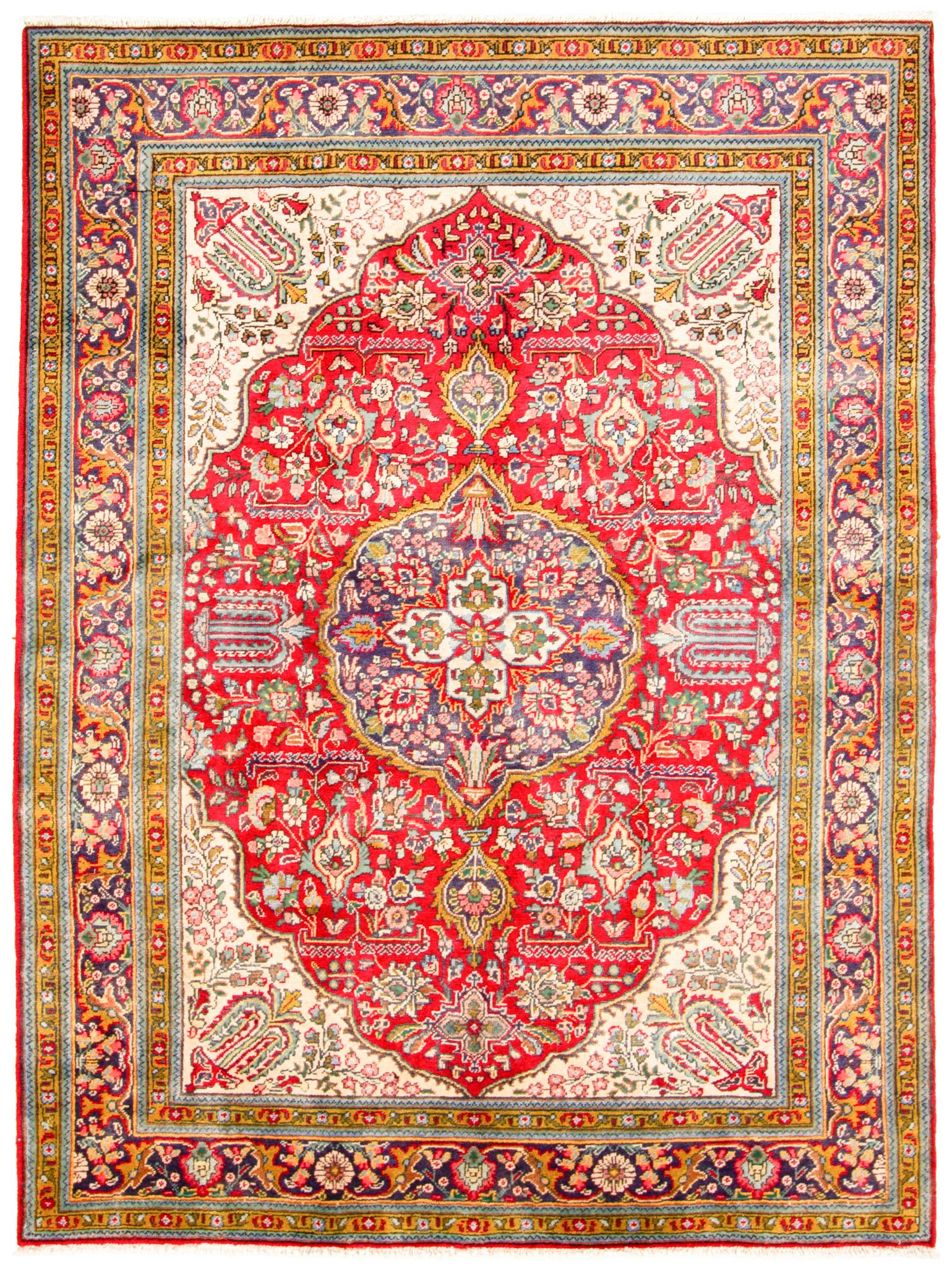 """Hand-knotted Tabriz  Wool Rug 5'1"""" x 6'10"""" Size: 5'1"""" x 6'10"""""""