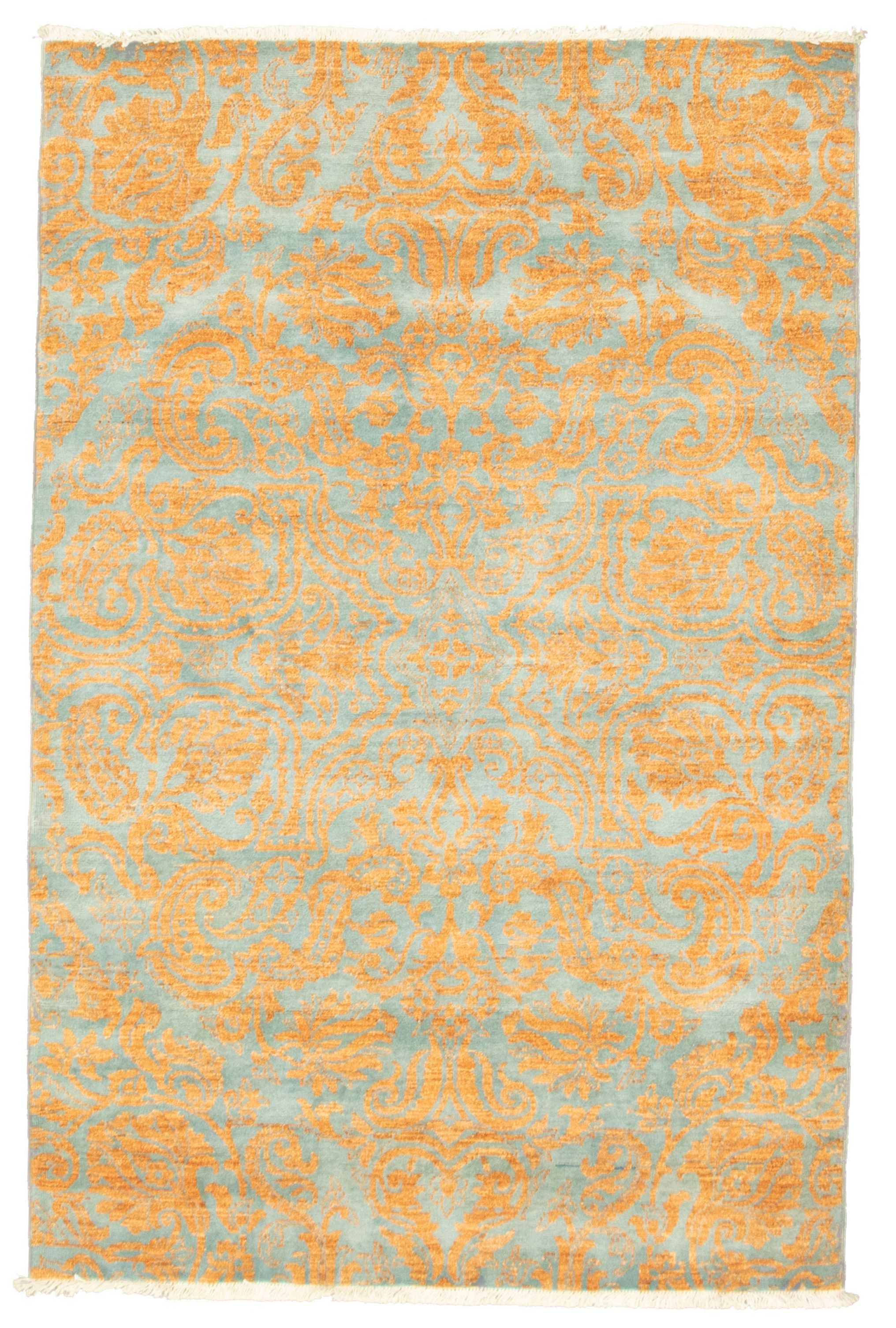"""Hand-knotted Signature Collection Light Blue , Light Brown Wool Rug 4'0"""" x 6'0"""" Size: 4'0"""" x 6'0"""""""
