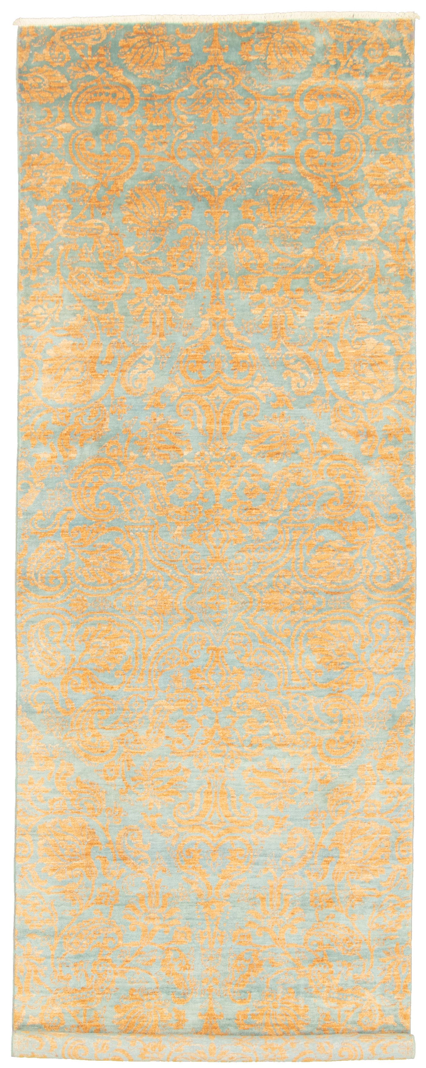 """Hand-knotted Signature Collection Light Blue , Light Brown Wool Rug 4'2"""" x 12'4"""" Size: 4'2"""" x 12'4"""""""