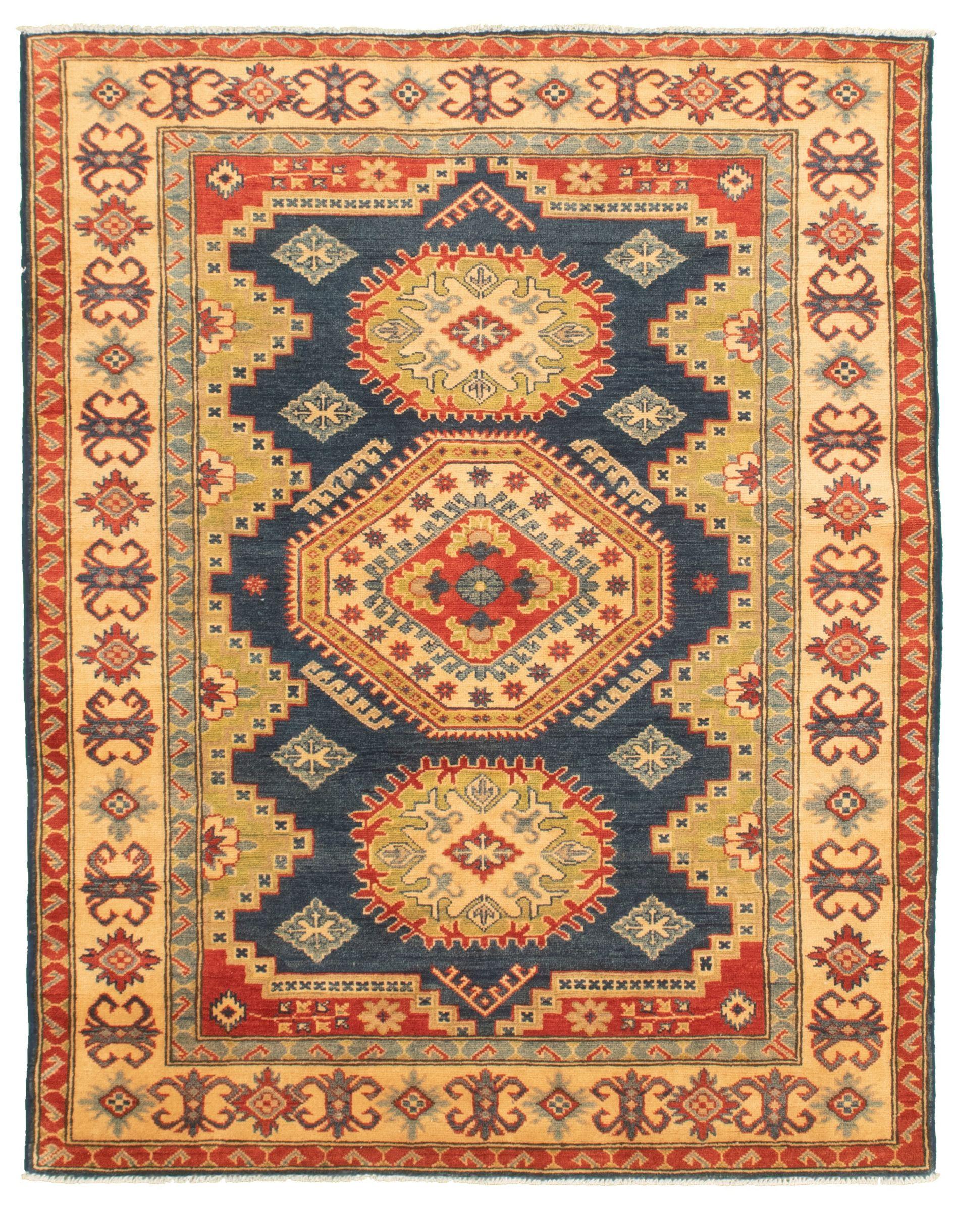"Hand-knotted Finest Gazni Blue, Dark Copper  Rug 4'11"" x 6'6"" Size: 4'11"" x 6'6"""