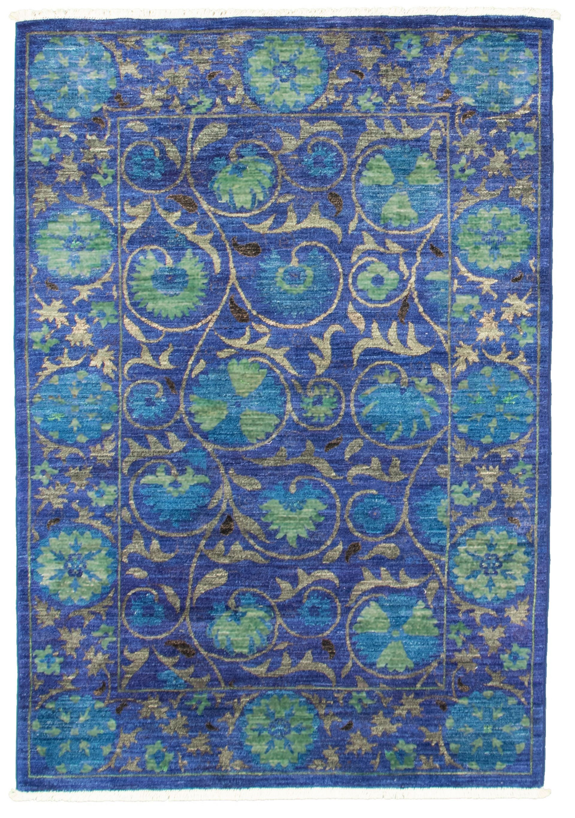 """Hand-knotted Signature Collection Dark Blue Wool Rug 4'0"""" x 6'0"""" Size: 4'0"""" x 6'0"""""""