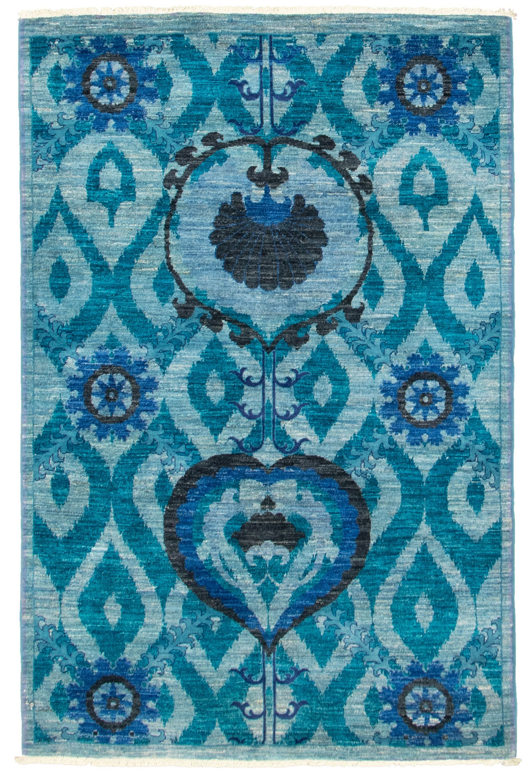 """Hand-knotted Signature Collection Light Blue  Wool Rug 4'3"""" x 6'3"""" Size: 4'3"""" x 6'3"""""""