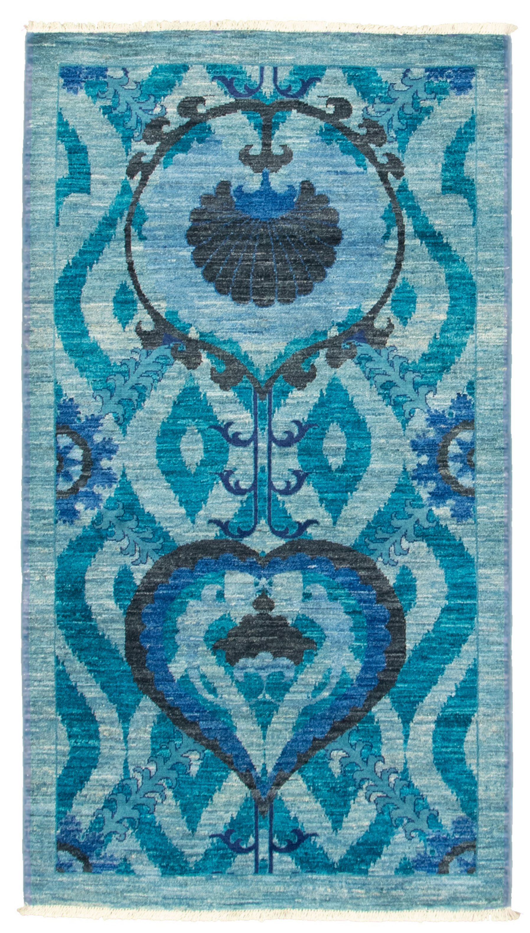 """Hand-knotted Signature Collection Light Blue  Wool Rug 3'2"""" x 5'8"""" Size: 3'2"""" x 5'8"""""""