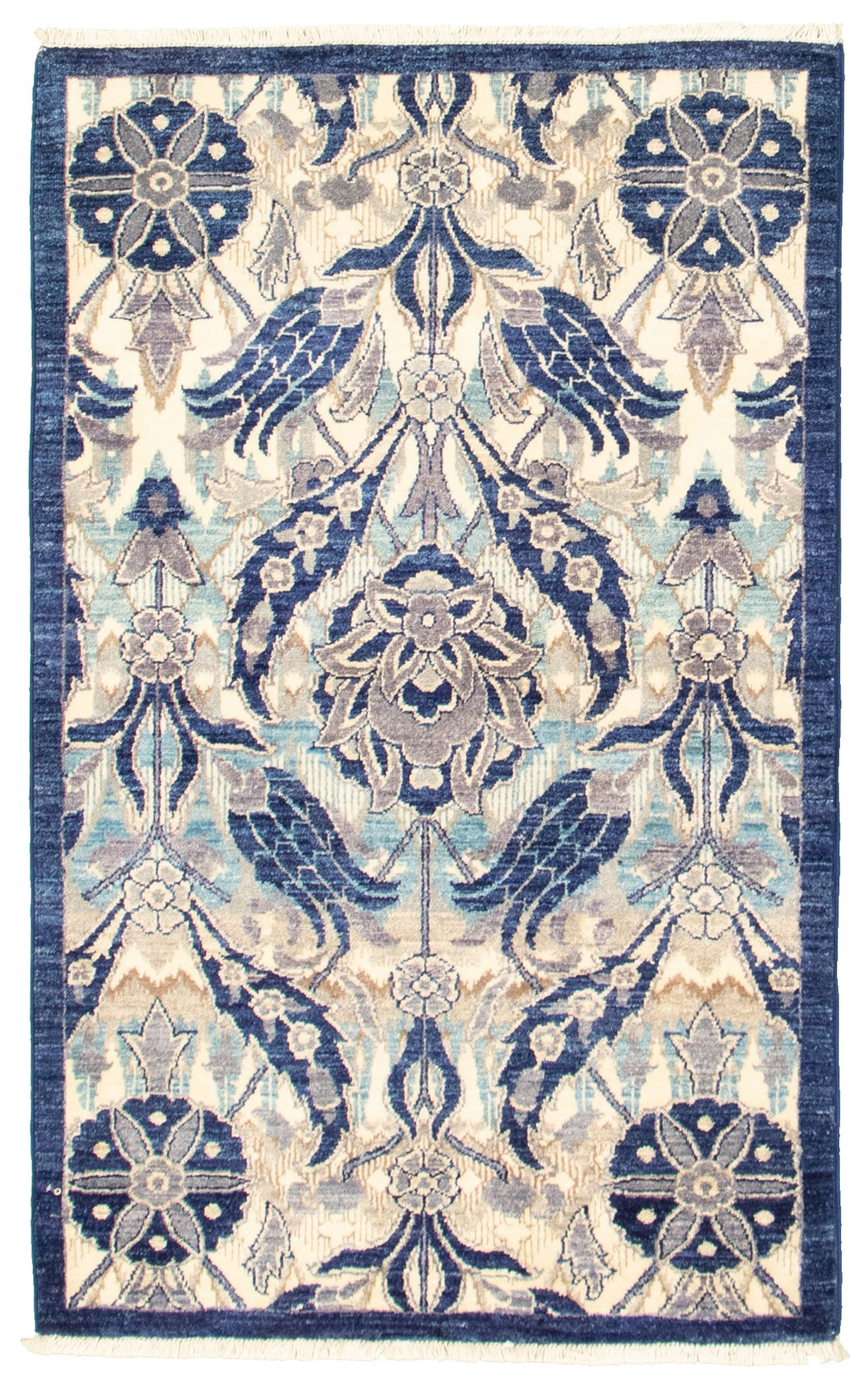 """Hand-knotted Signature Collection Cream, Navy Blue Wool Rug 3'1"""" x 5'1"""" Size: 3'1"""" x 5'1"""""""