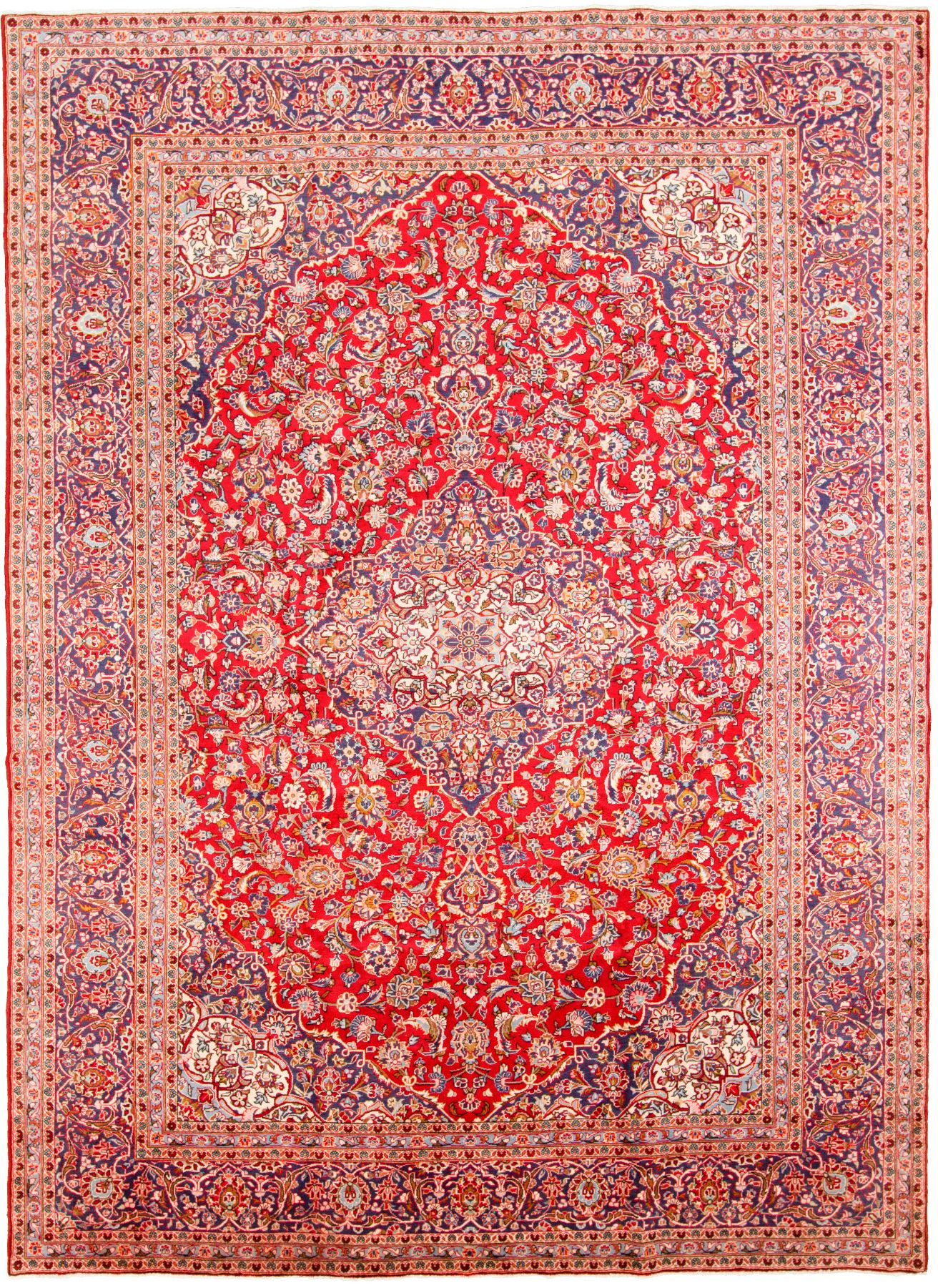"""Hand-knotted Kashan  Wool Rug 9'5"""" x 13'1"""" Size: 9'5"""" x 13'1"""""""