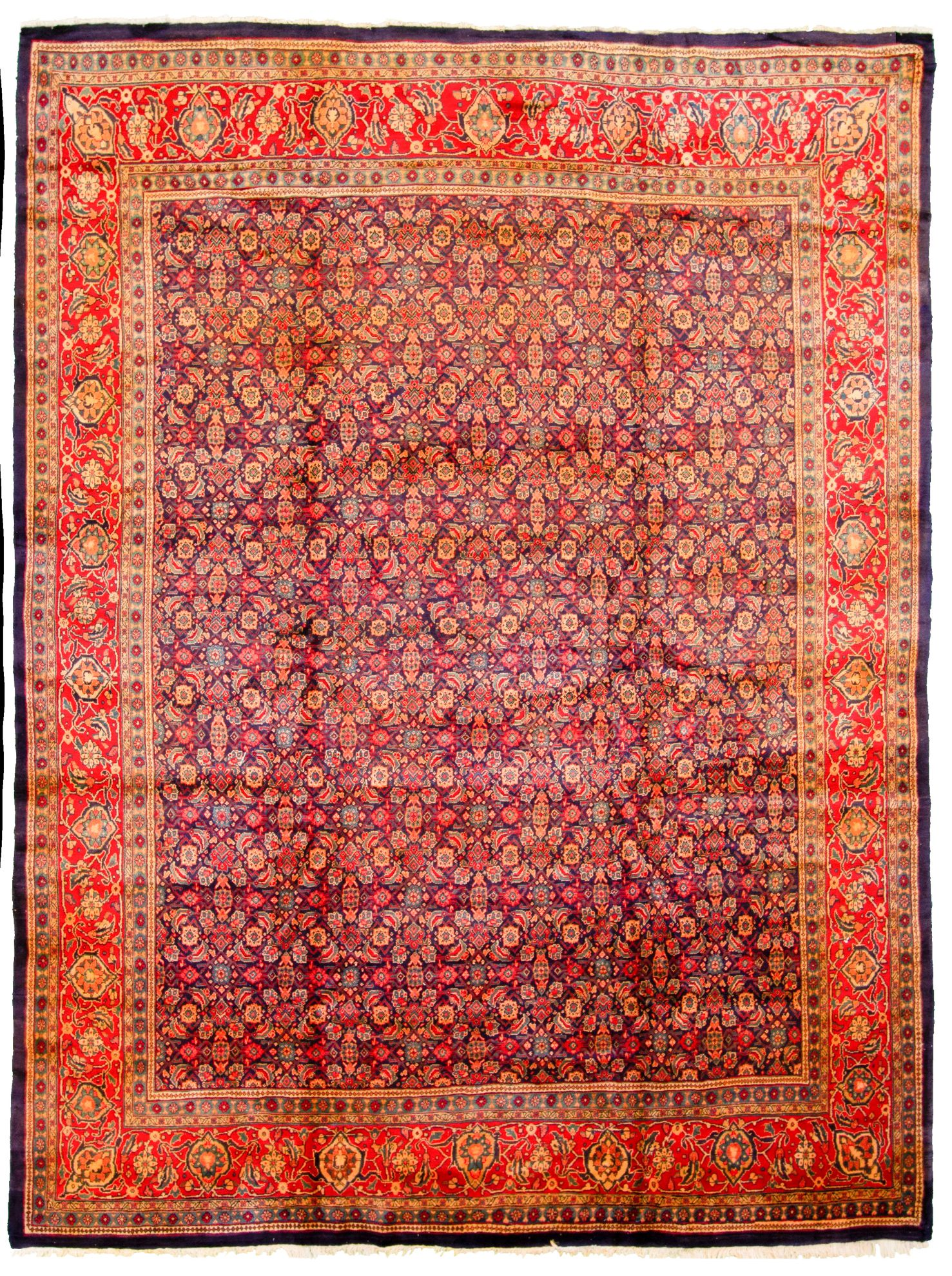 """Hand-knotted Sarough  Wool Rug 9'4"""" x 12'2"""" Size: 9'4"""" x 12'2"""""""