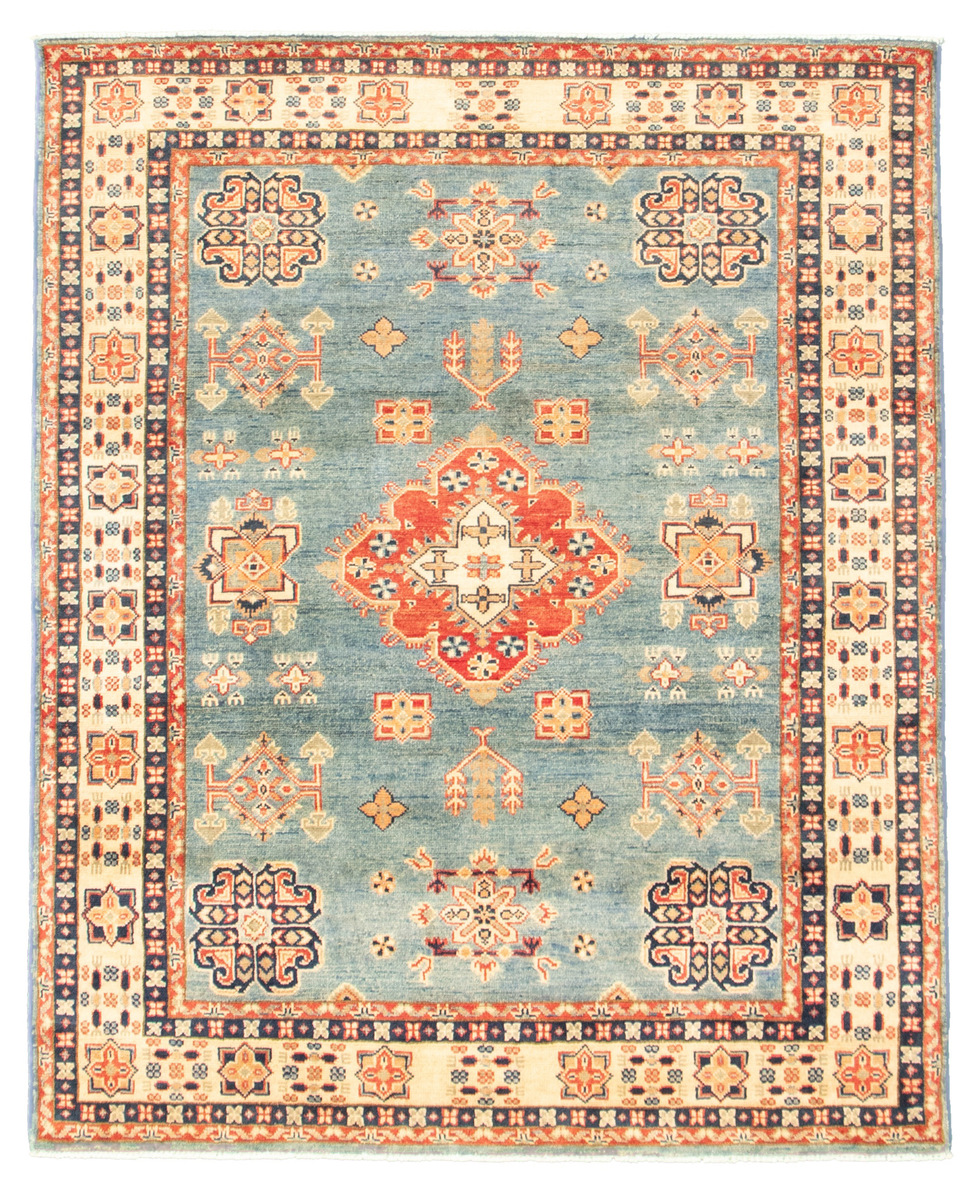 "Hand-knotted Finest Gazni Sky Blue  Rug 4'10"" x 6'2"" Size: 4'10"" x 6'2"""