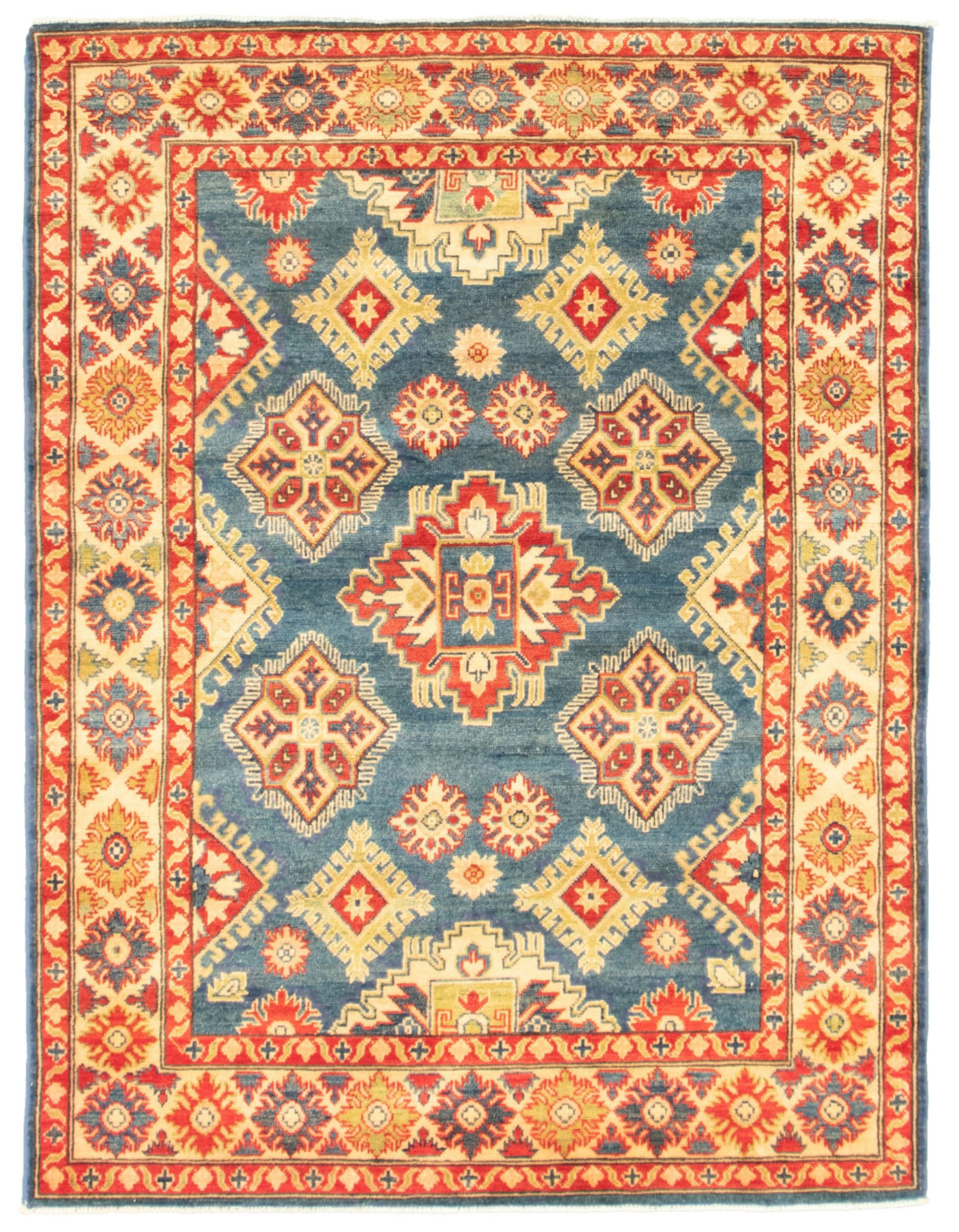 """Hand-knotted Finest Gazni Blue  Rug 4'11"""" x 6'6"""" Size: 4'11"""" x 6'6"""""""