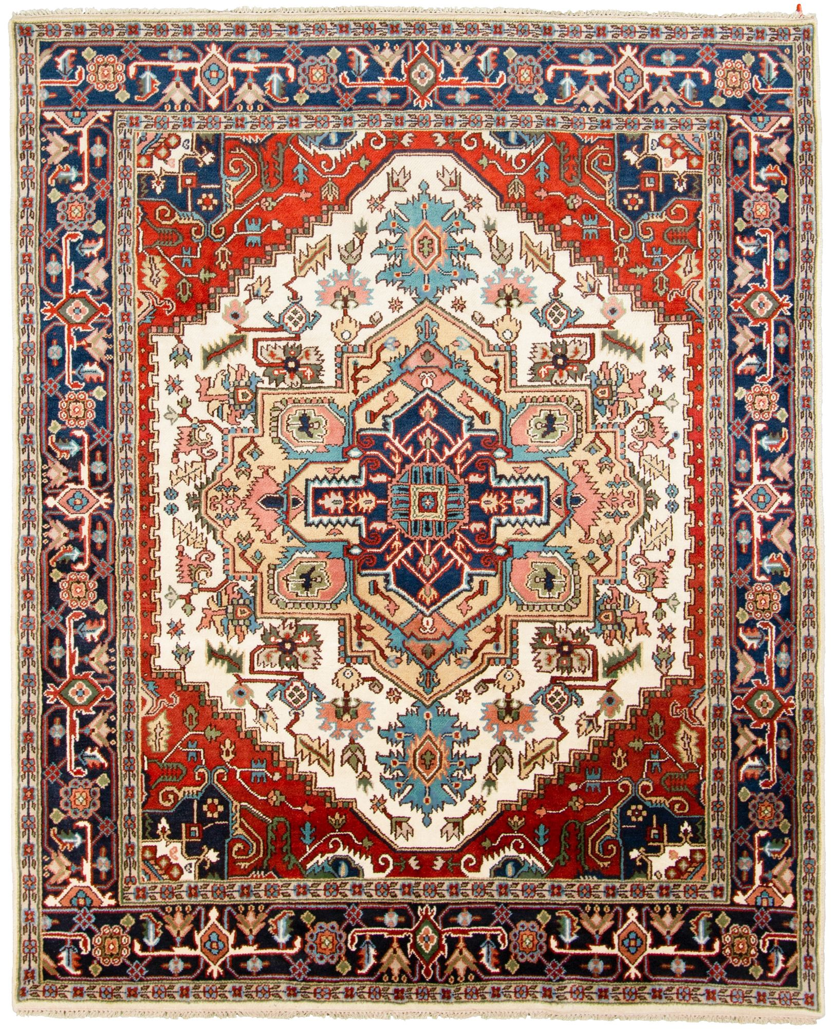 """Hand-knotted Serapi Heritage Blue, Ivory  Rug 8'0"""" x 9'9"""" Size: 8'0"""" x 9'9"""""""