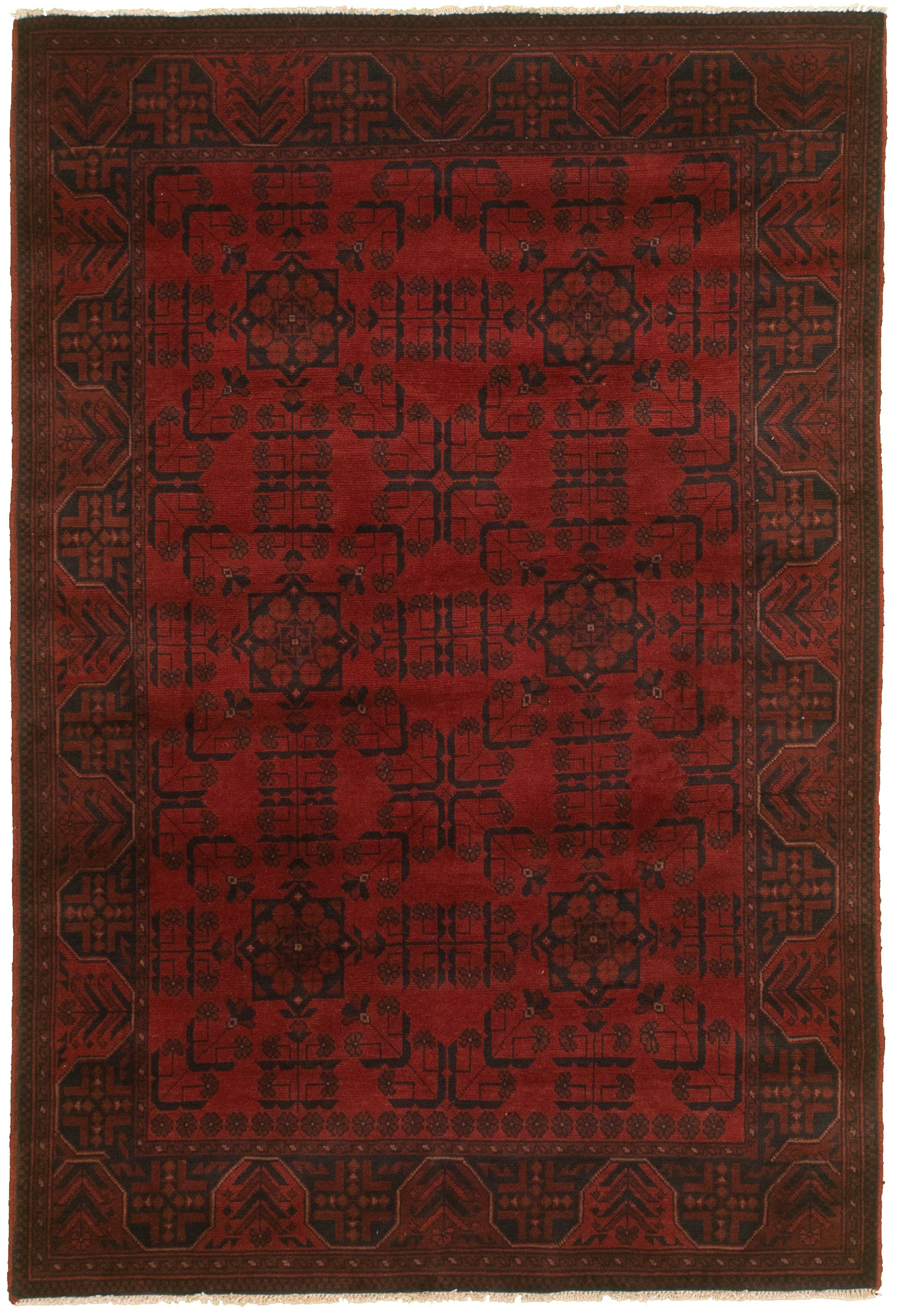 """Hand-knotted Finest Khal Mohammadi Red  Rug 4'4"""" x 6'4""""  Size: 4'4"""" x 6'4"""""""