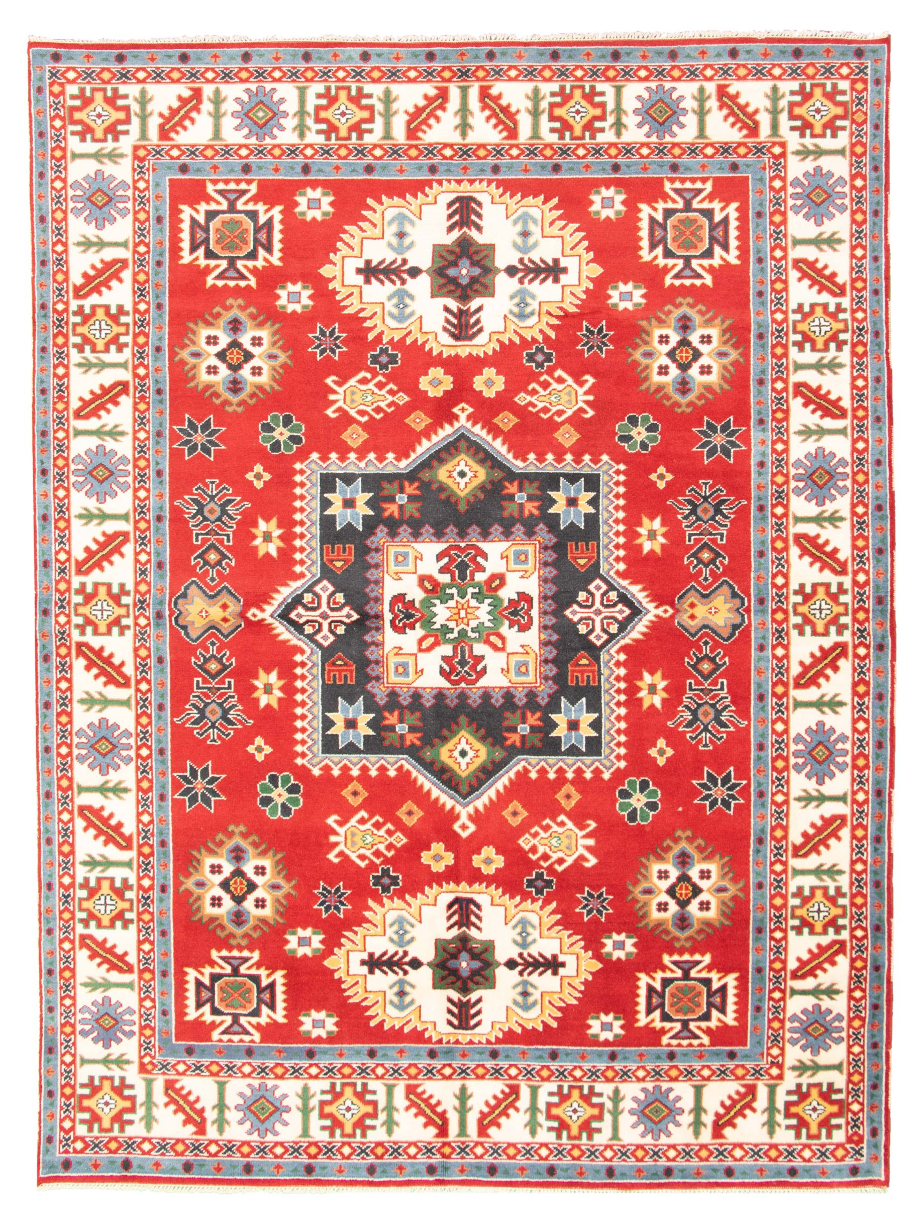 """Hand-knotted Royal Kazak Red Wool Rug 9'0"""" x 12'0""""  Size: 9'0"""" x 12'0"""""""