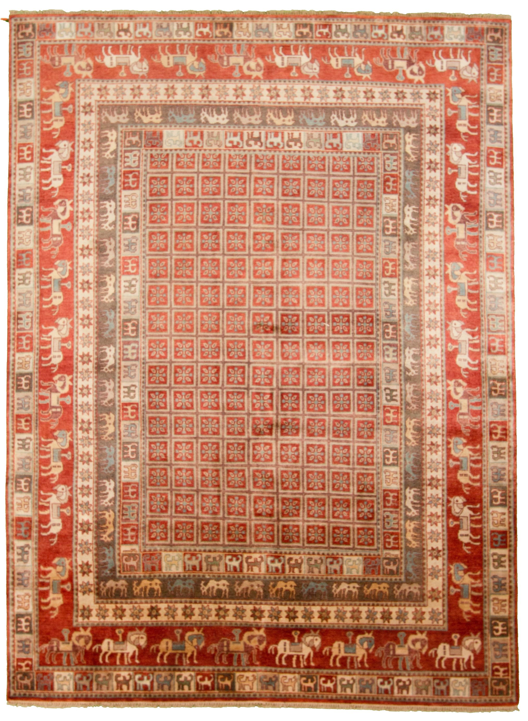 """Hand-knotted Pazirik Red  Rug 8'10"""" x 12'2"""" Size: 8'10"""" x 12'2"""""""