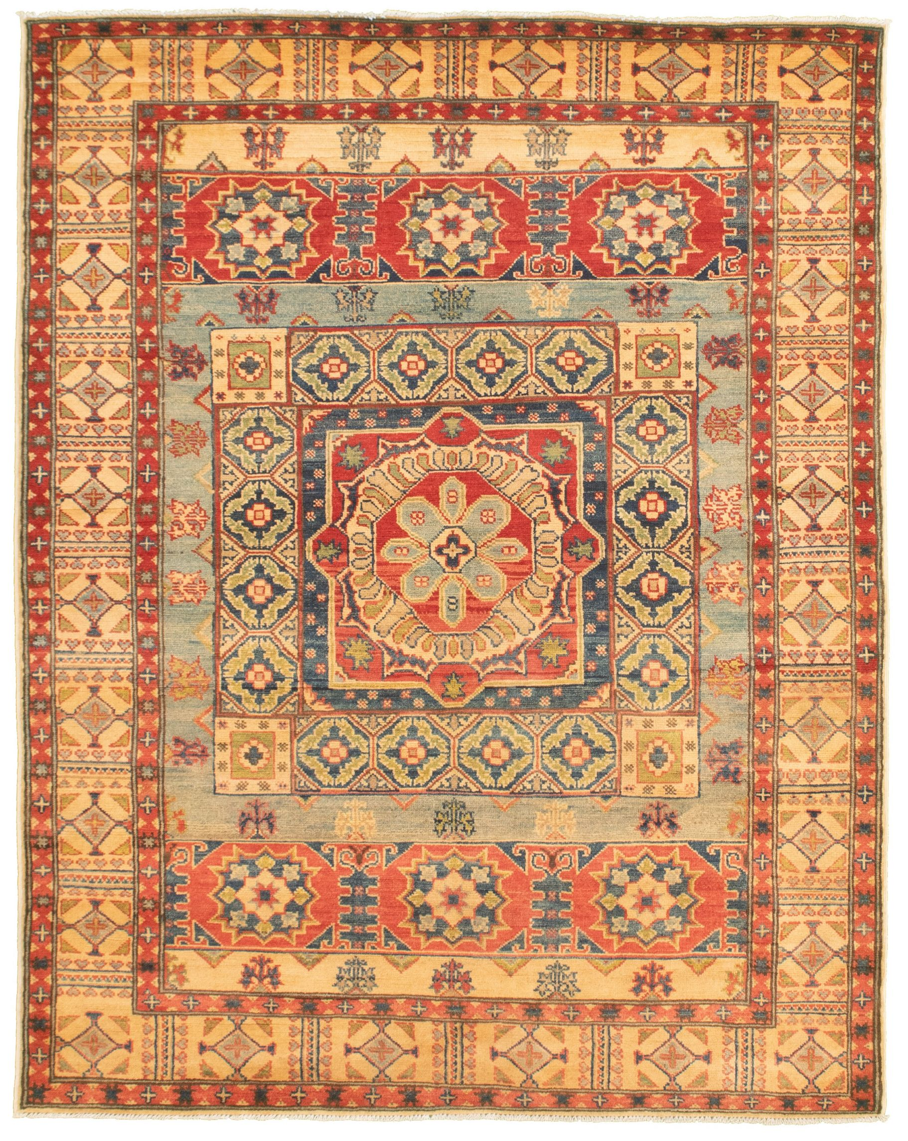 """Hand-knotted Finest Gazni Light Blue , Red  Rug 5'1"""" x 6'7"""" Size: 5'1"""" x 6'7"""""""