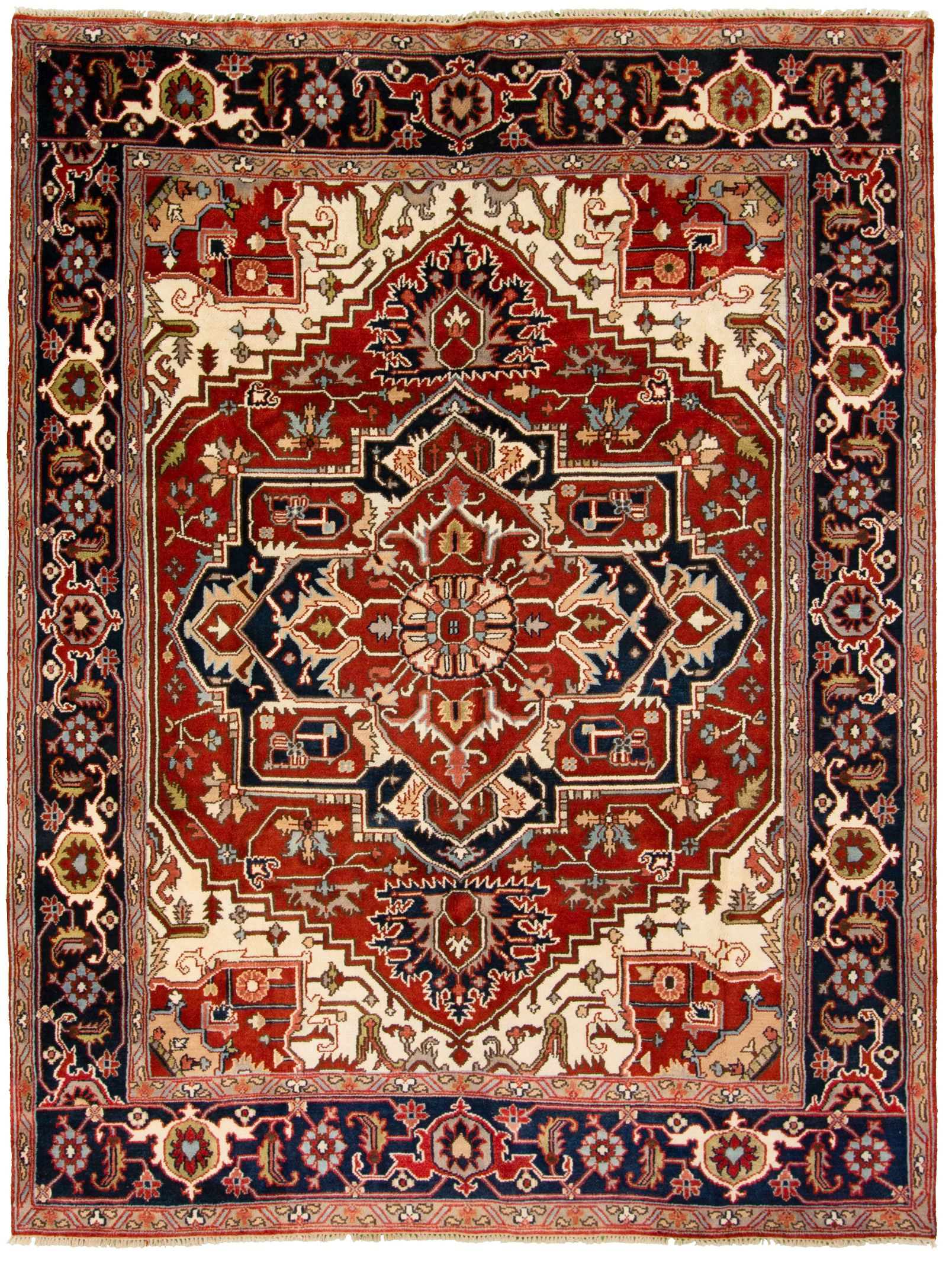 """Hand-knotted Serapi Heritage Dark Navy, Red  Rug 9'0"""" x 12'0"""" Size: 9'0"""" x 12'0"""""""
