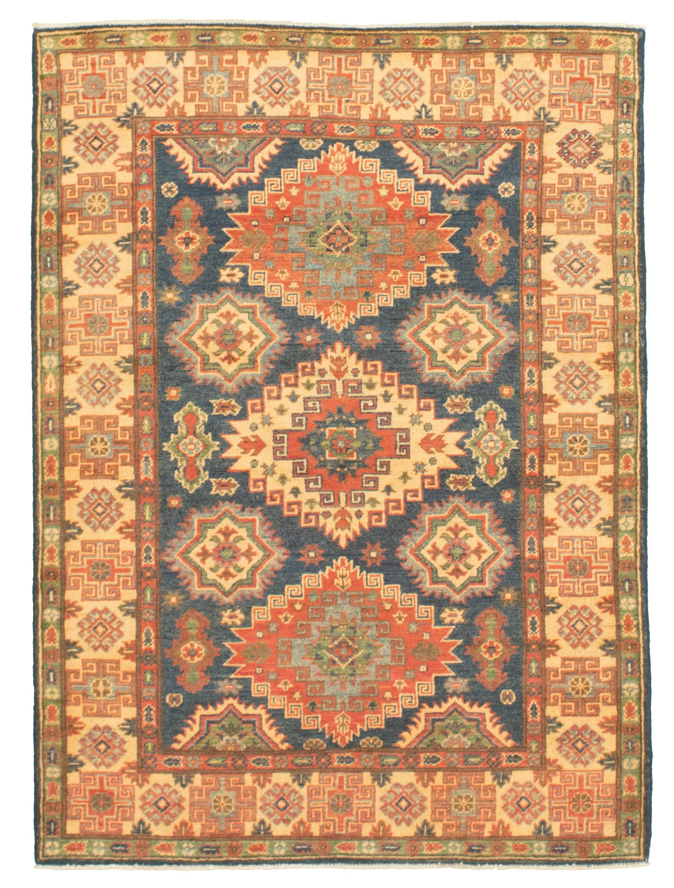 """Hand-knotted Finest Gazni Navy Blue  Rug 4'2"""" x 5'10"""" Size: 4'2"""" x 5'10"""""""