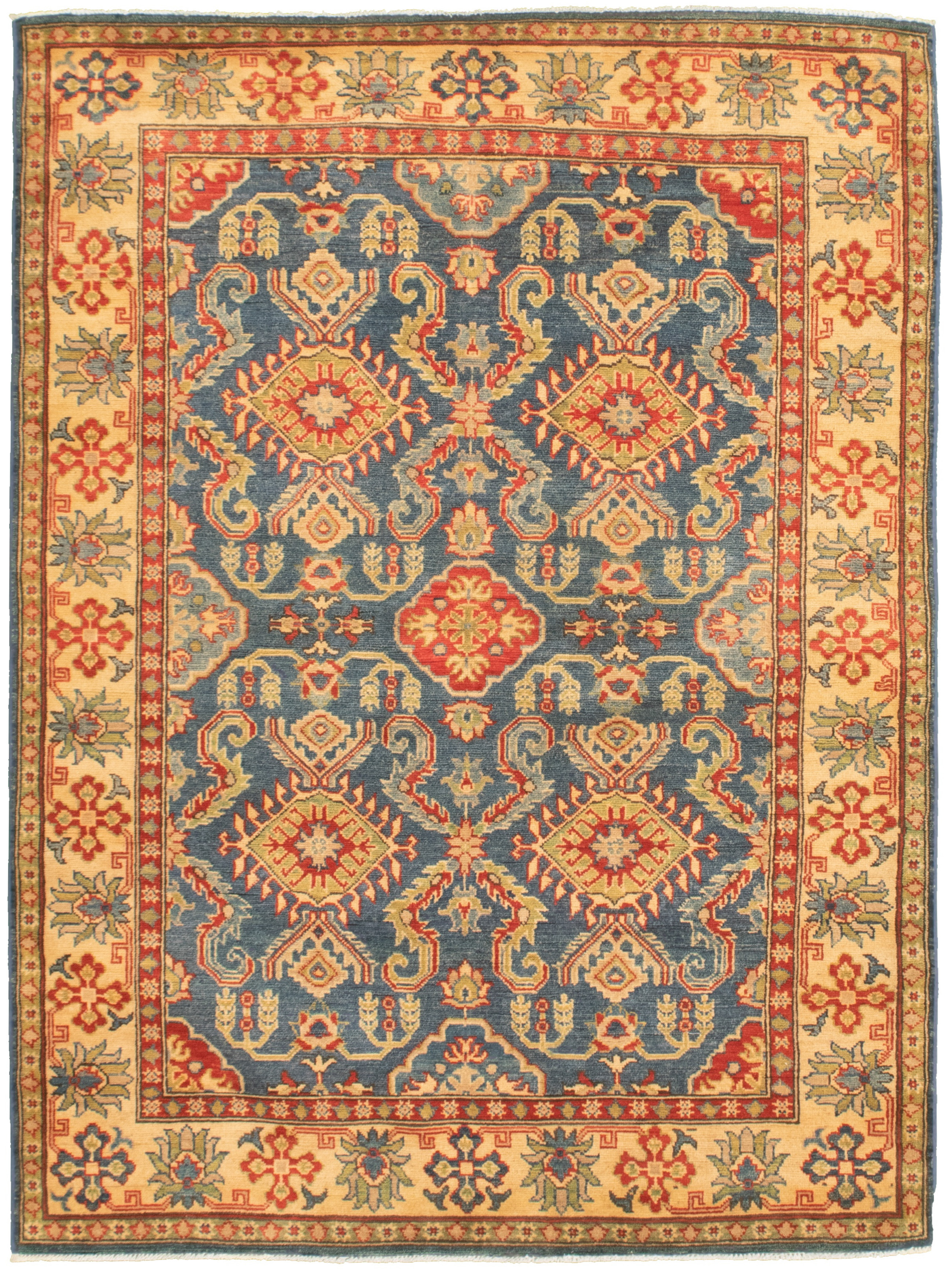 """Hand-knotted Finest Gazni Navy Blue  Rug 4'11"""" x 6'11"""" Size: 4'11"""" x 6'11"""""""