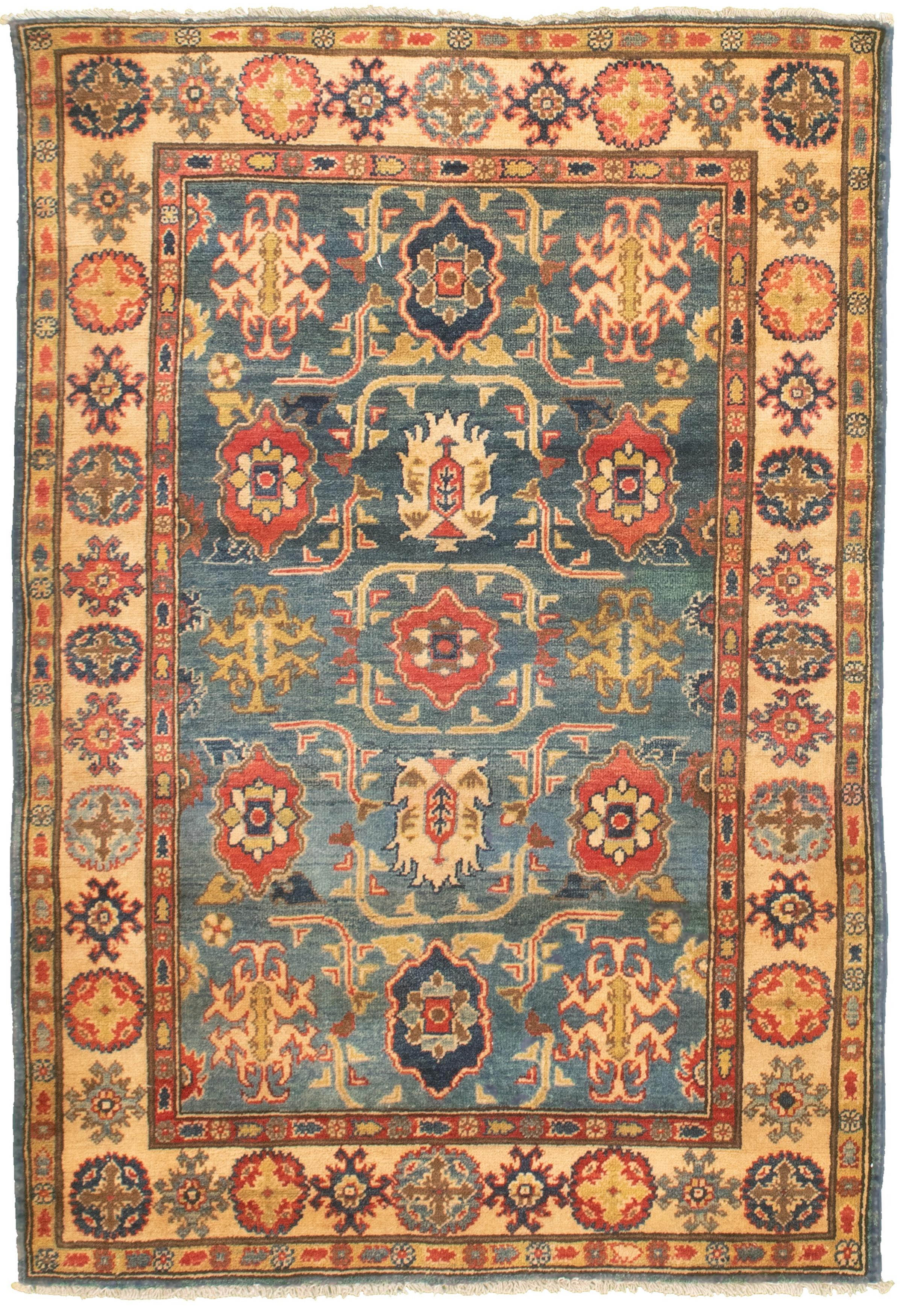 """Hand-knotted Finest Gazni Blue  Rug 3'10"""" x 5'10"""" Size: 3'10"""" x 5'10"""""""