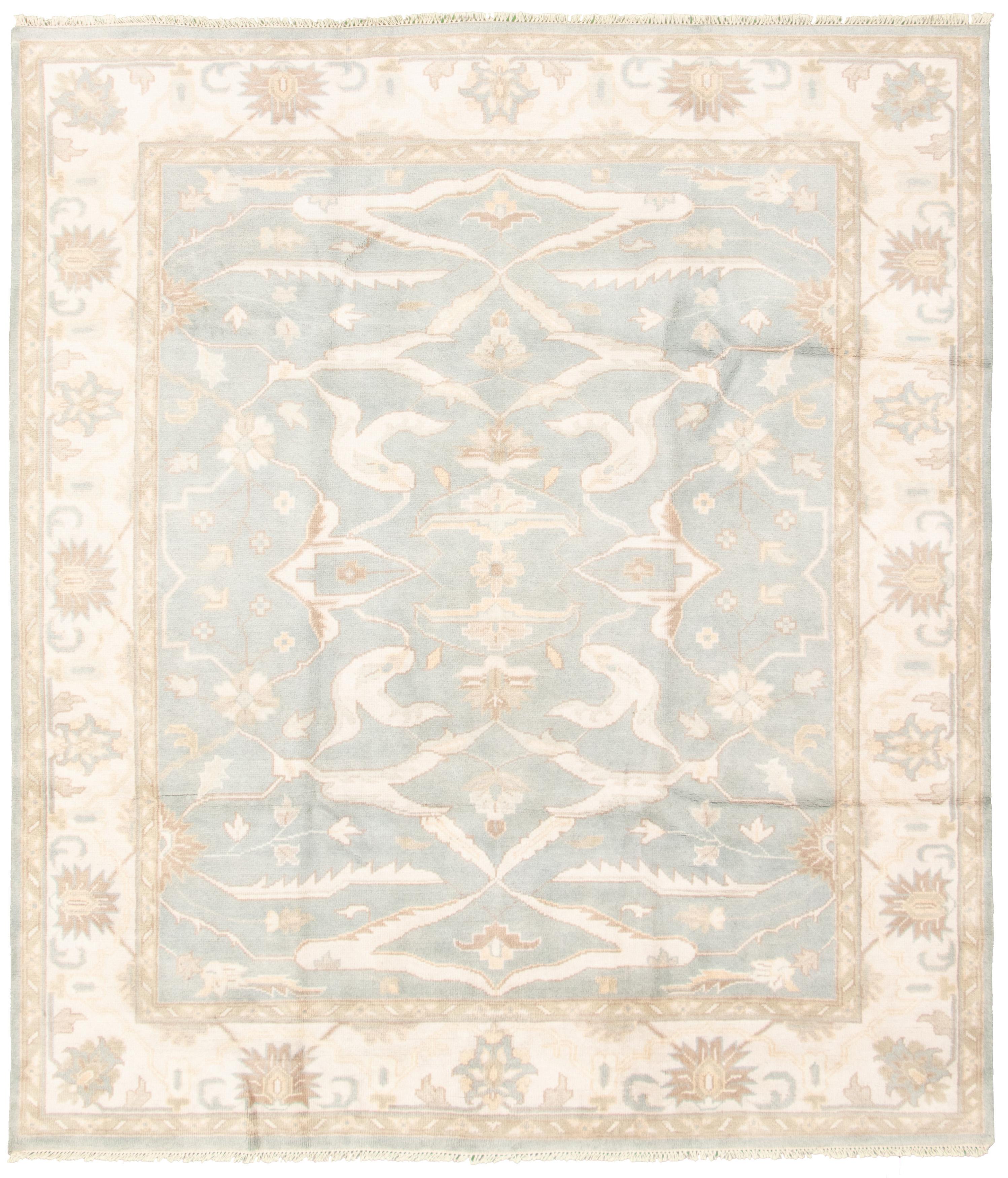 "Hand-knotted Royal Ushak Light Blue  Wool Rug 8'2"" x 9'4"" Size: 8'2"" x 9'4"""