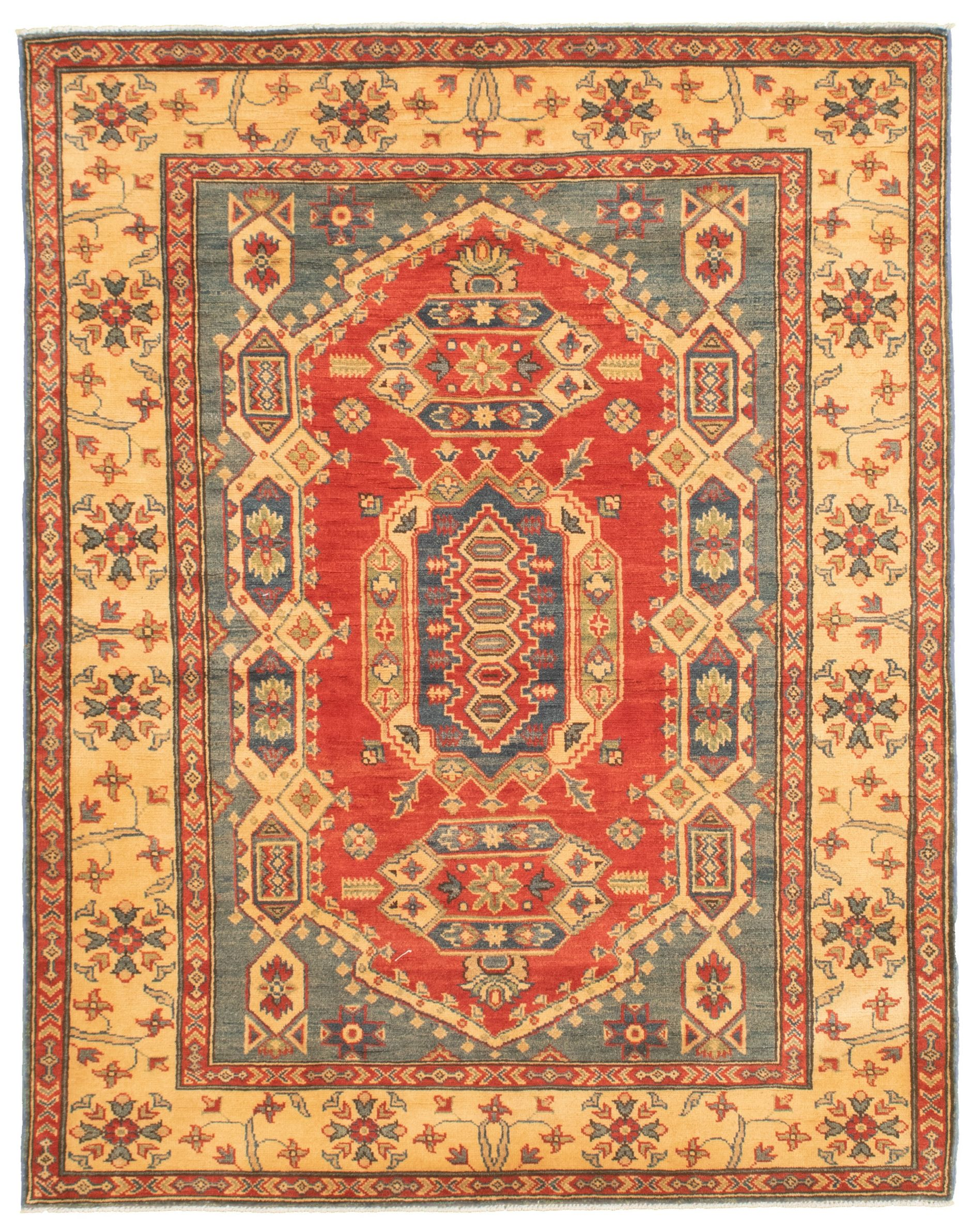 """Hand-knotted Finest Gazni Blue, Red  Rug 5'1"""" x 6'8"""" Size: 5'1"""" x 6'8"""""""