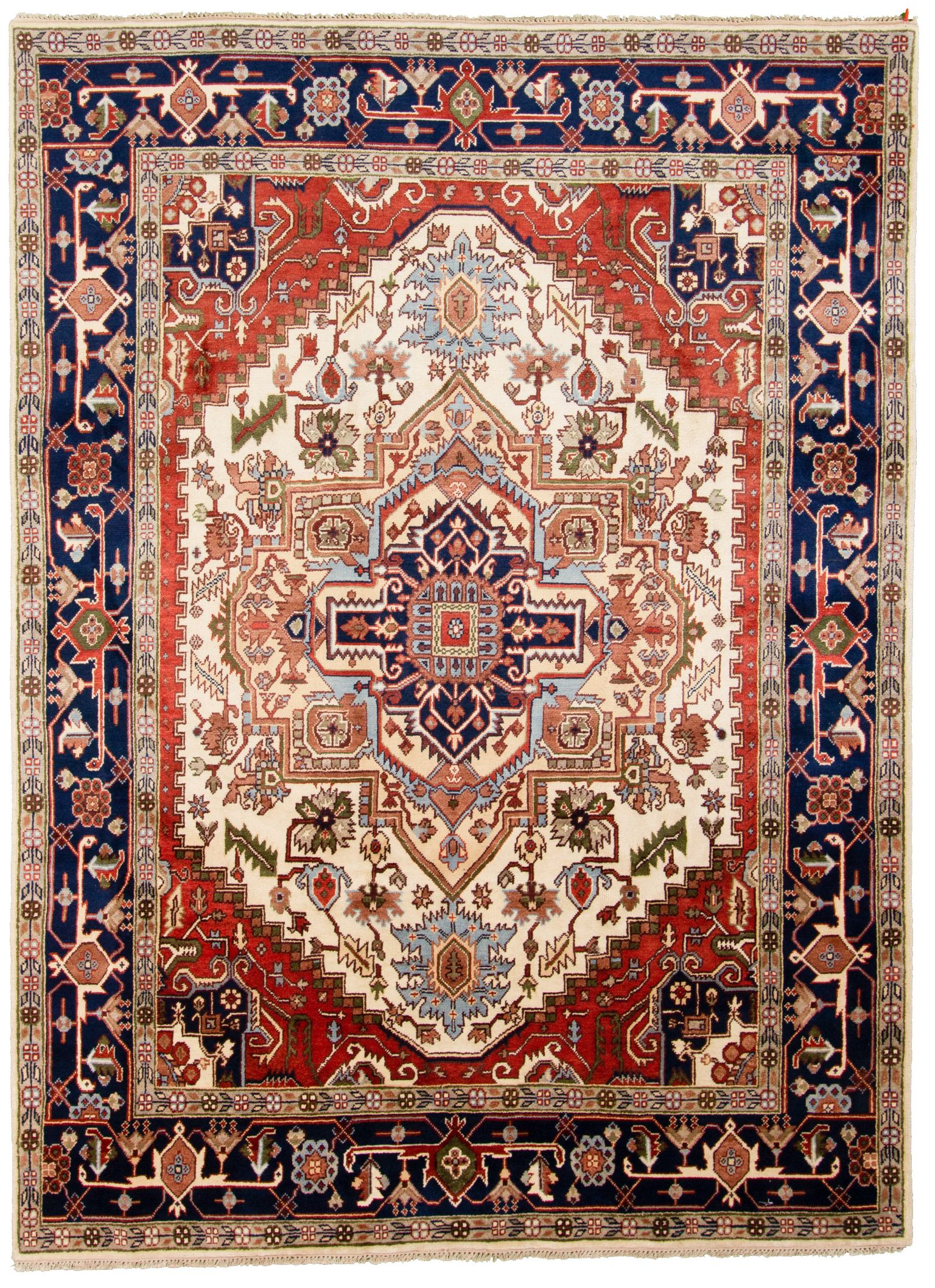 """Hand-knotted Serapi Heritage Blue, Ivory  Rug 8'10"""" x 11'11"""" Size: 8'10"""" x 11'11"""""""