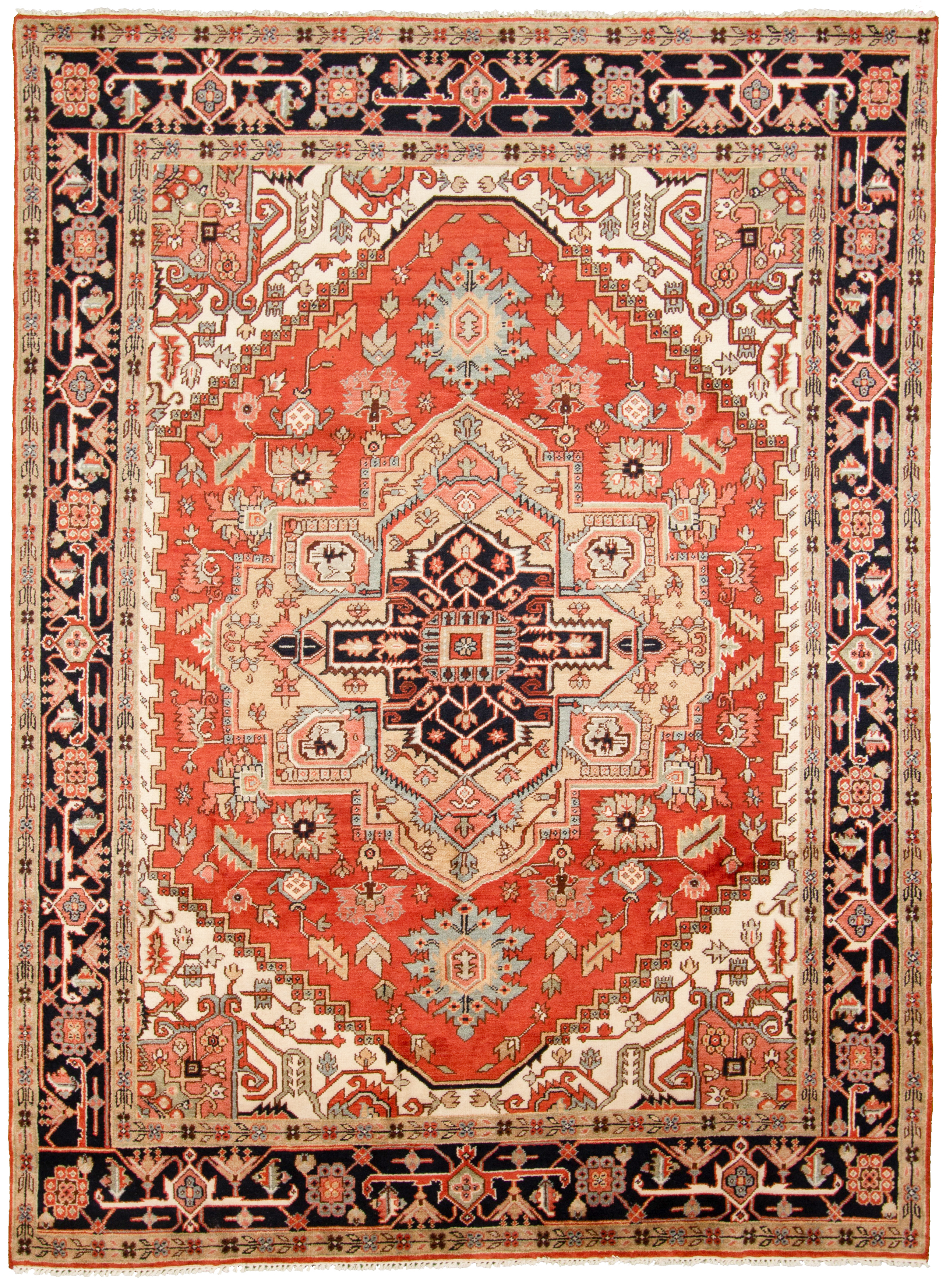 """Hand-knotted Serapi Heritage Blue, Red  Rug 8'11"""" x 12'1"""" Size: 8'11"""" x 12'1"""""""