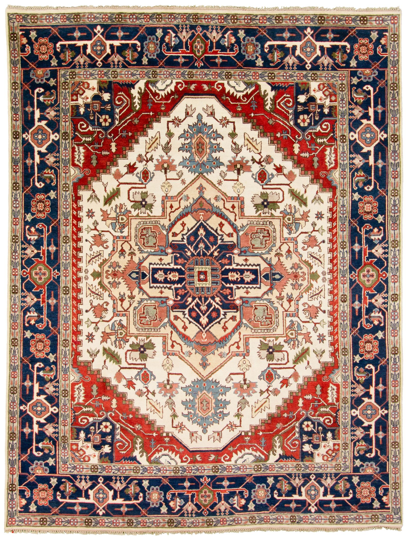 """Hand-knotted Serapi Heritage Blue, Ivory  Rug 8'11"""" x 12'0"""" Size: 8'11"""" x 12'0"""""""
