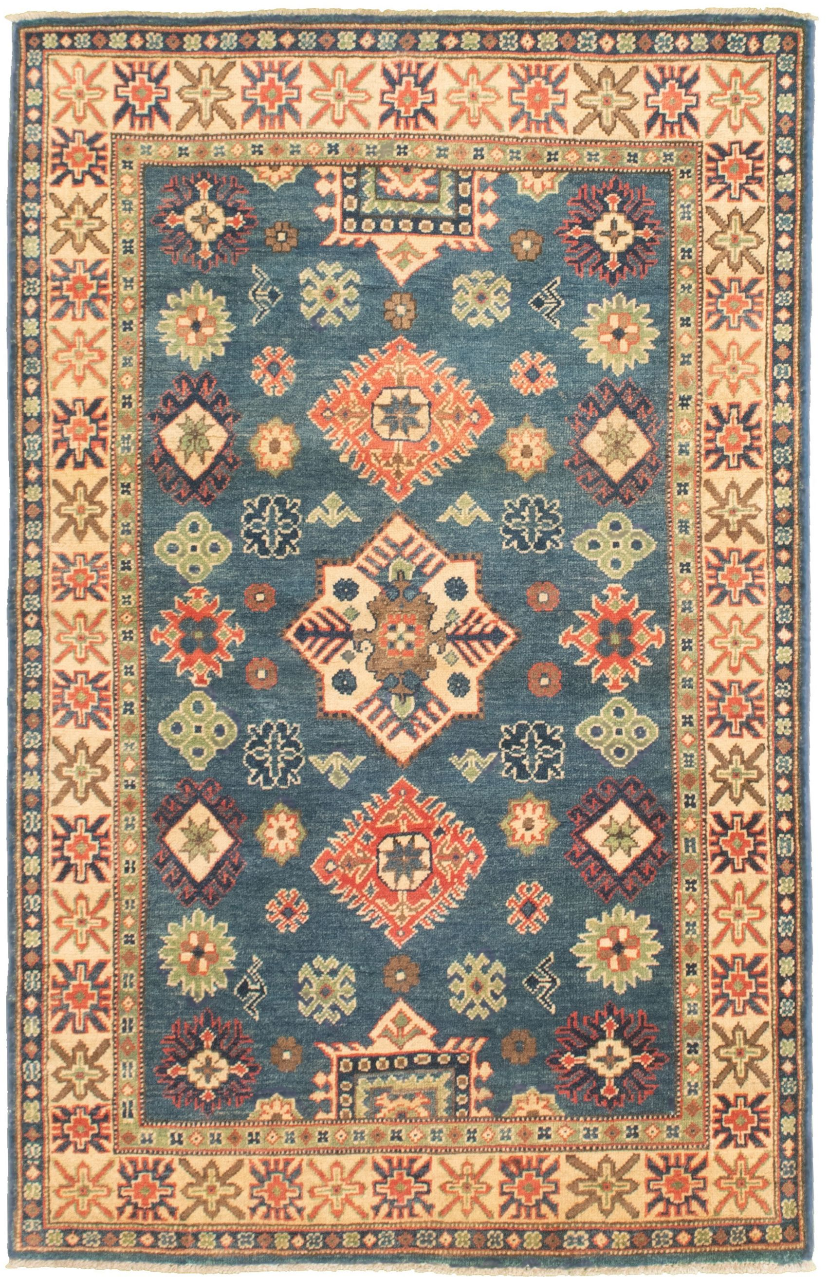 """Hand-knotted Finest Gazni Blue  Rug 3'7"""" x 5'9"""" Size: 3'7"""" x 5'9"""""""