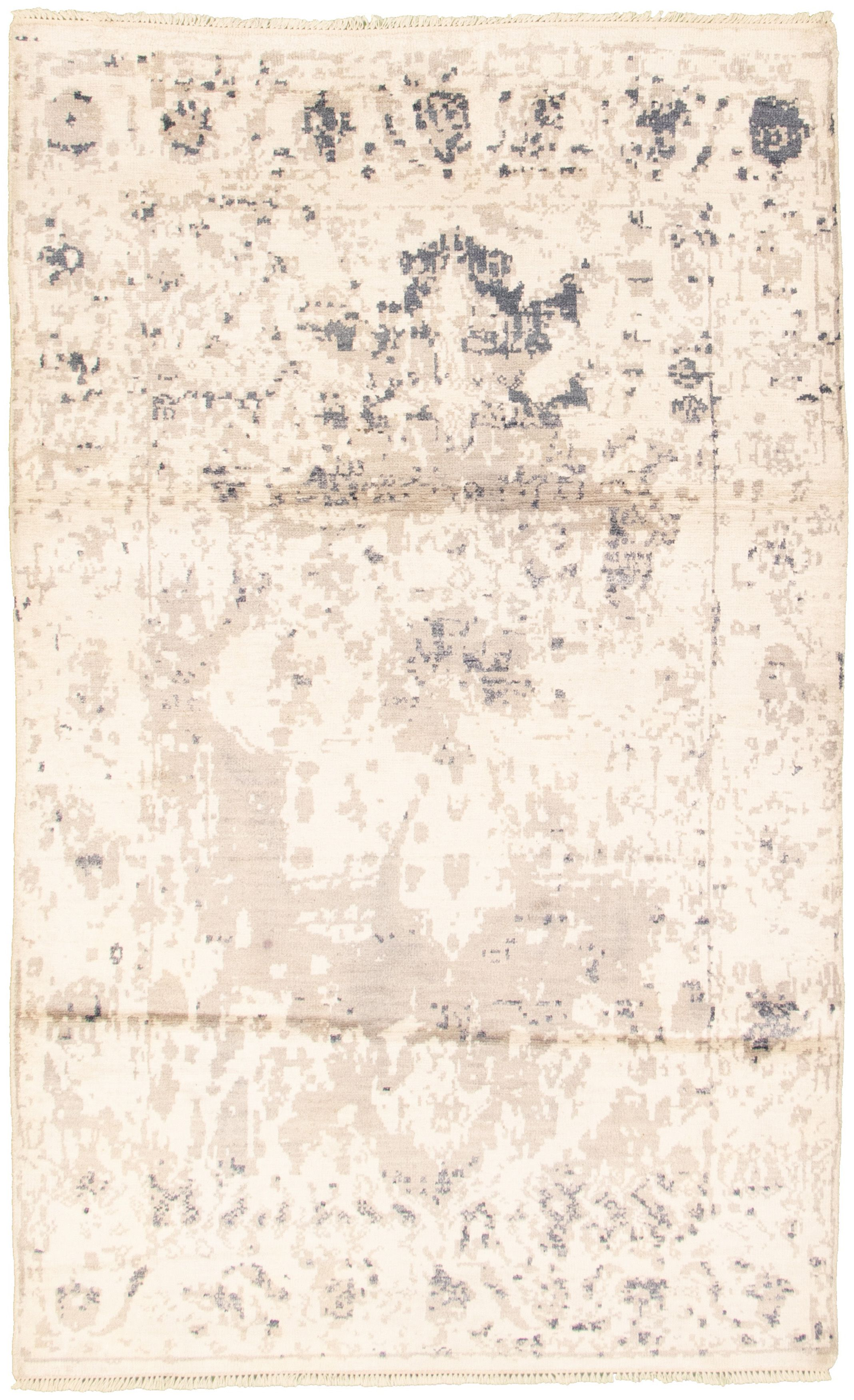 """Hand-knotted Elixir Cream  Rug 4'10"""" x 7'10""""  Size: 4'10"""" x 7'10"""""""