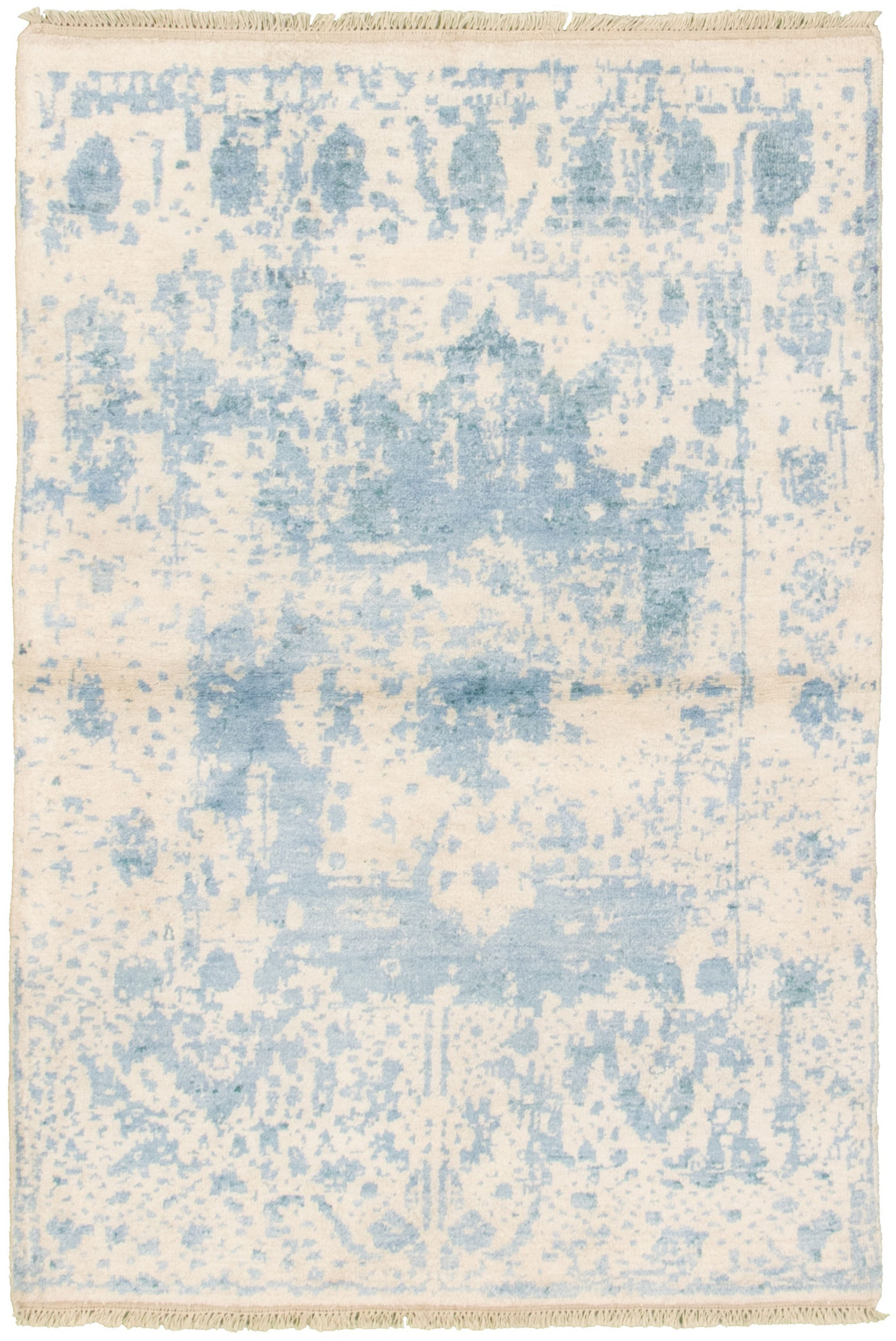 """Hand-knotted Elixir Cream, Sky Blue  Rug 3'11"""" x 5'10"""" Size: 3'11"""" x 5'10"""""""