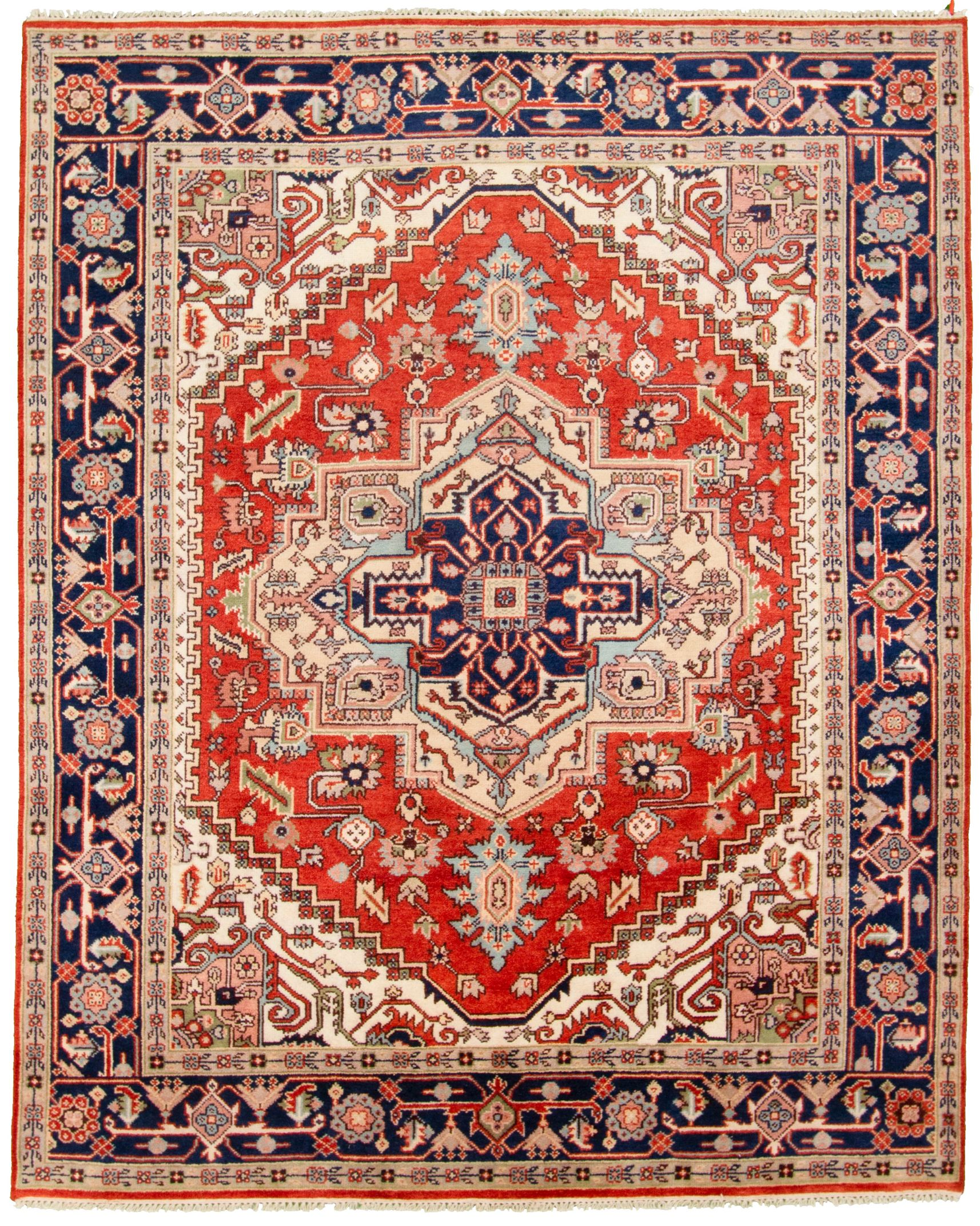 """Hand-knotted Serapi Heritage Blue, Red  Rug 8'0"""" x 9'10""""  Size: 8'0"""" x 9'11"""""""